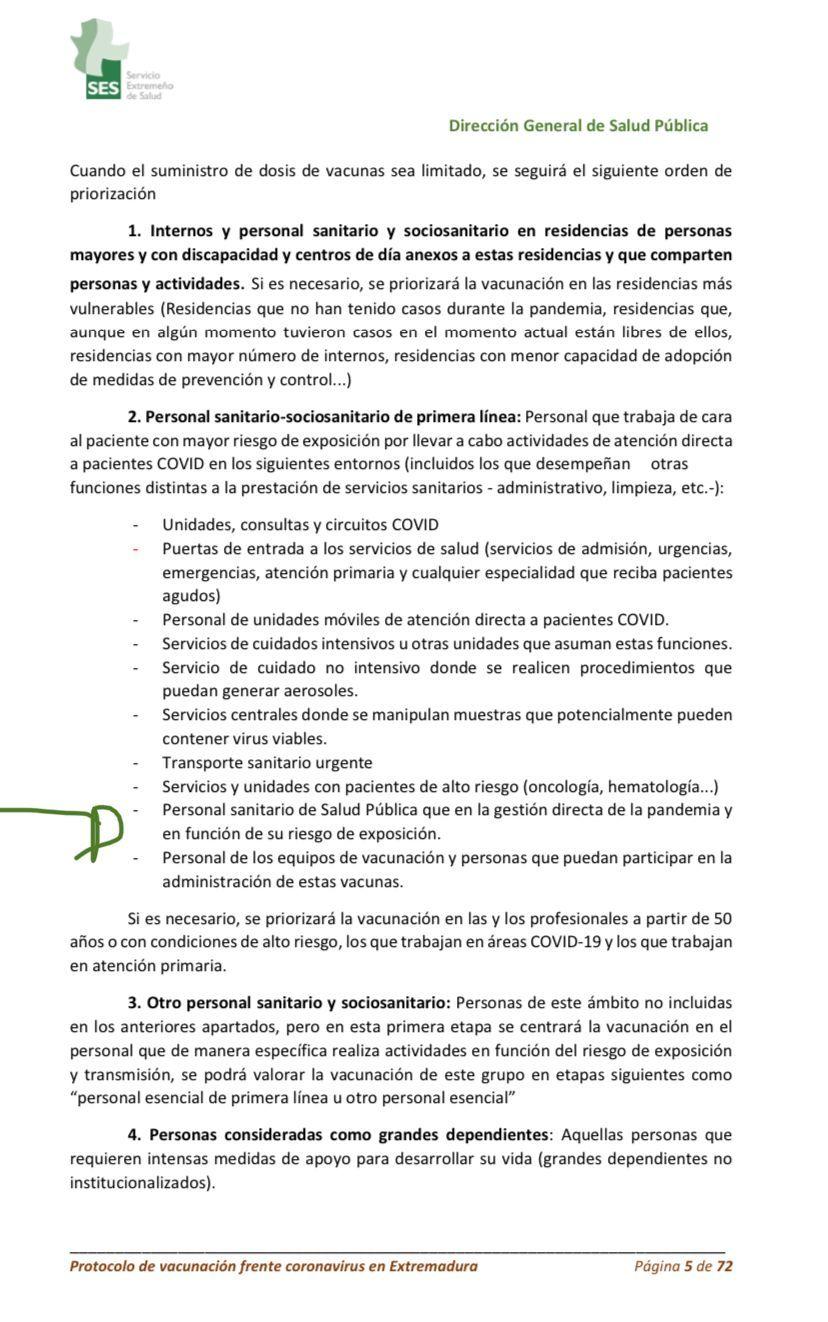 El documento del primero protocolo de vacunación, de diciembre de 2020.