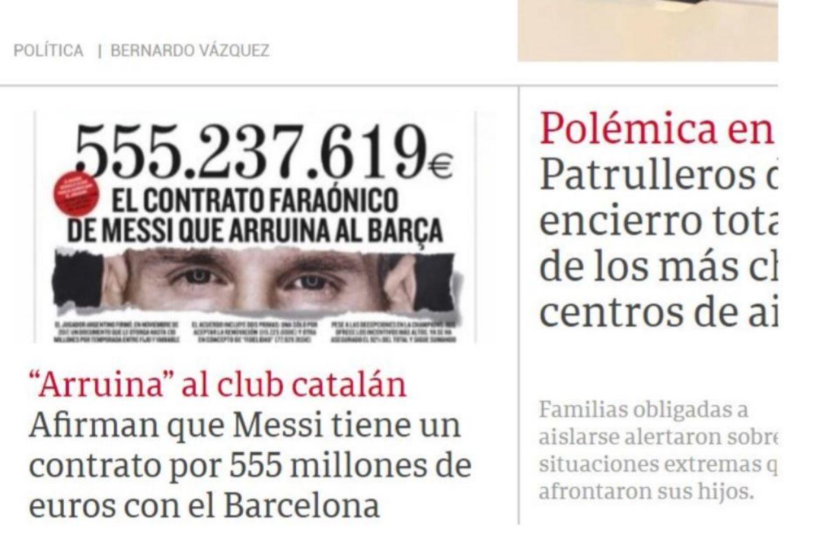 Portada del diario 'Clarín'