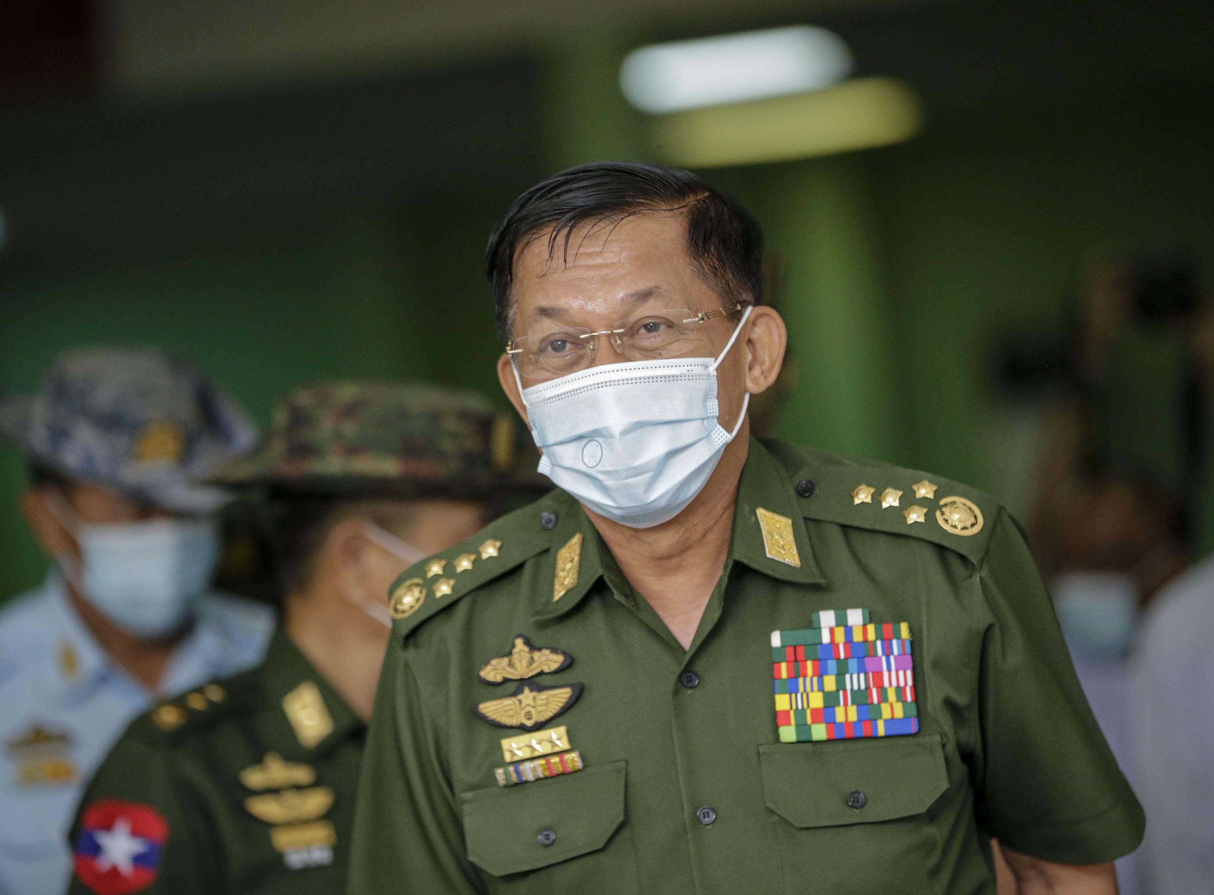 El general Min Aung Hlaing, jefe del Ejército birmano.
