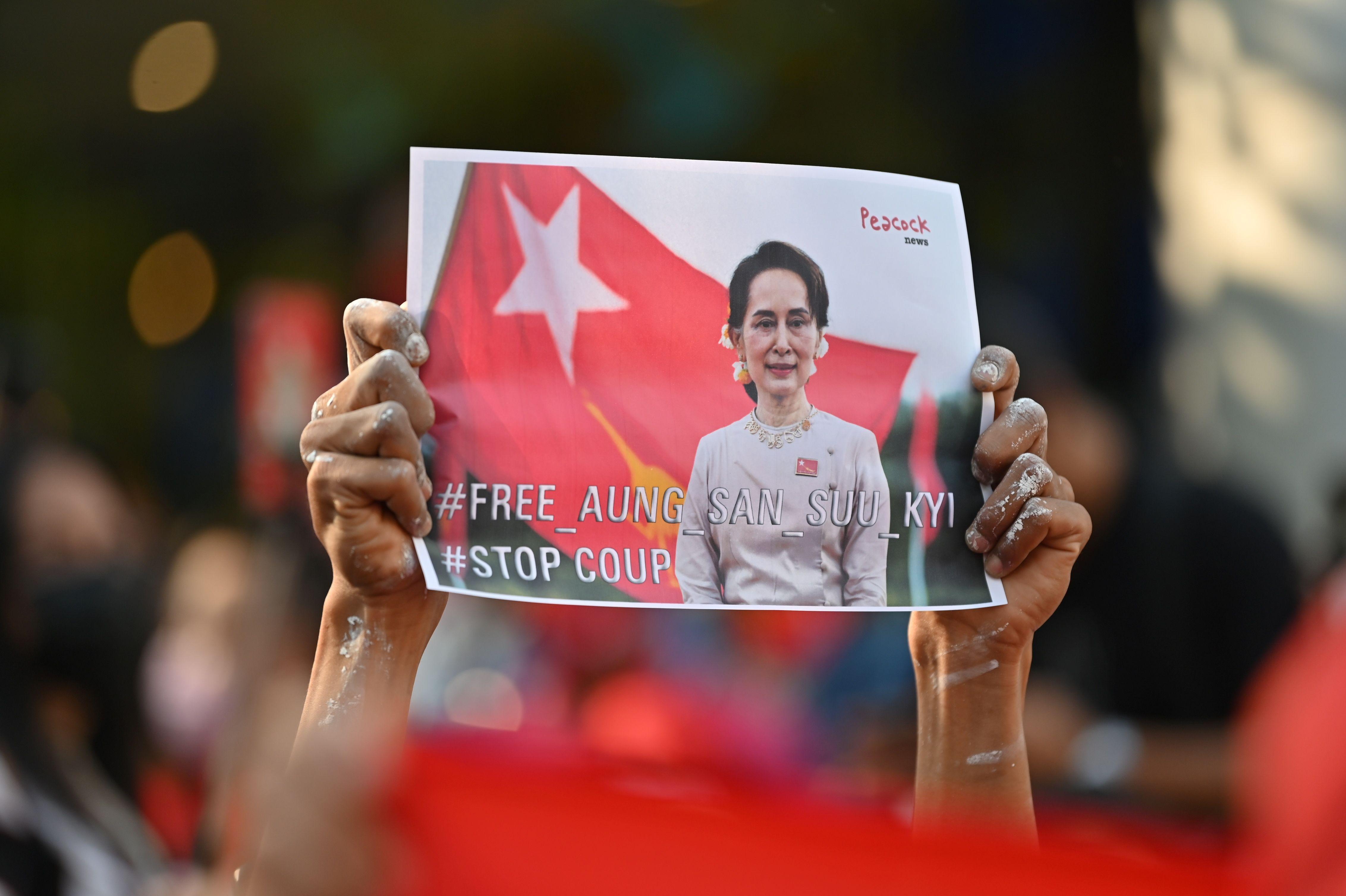 مهاجران برمه ای در طی یک تظاهرات