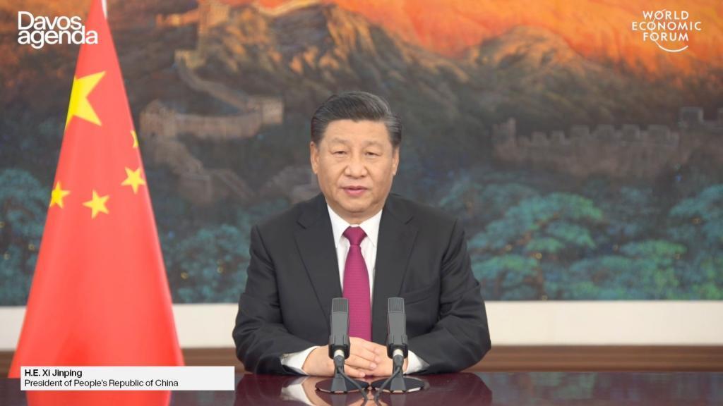 Xi Jinping, presidente de China, durante su discurso en el Foro de Davos.