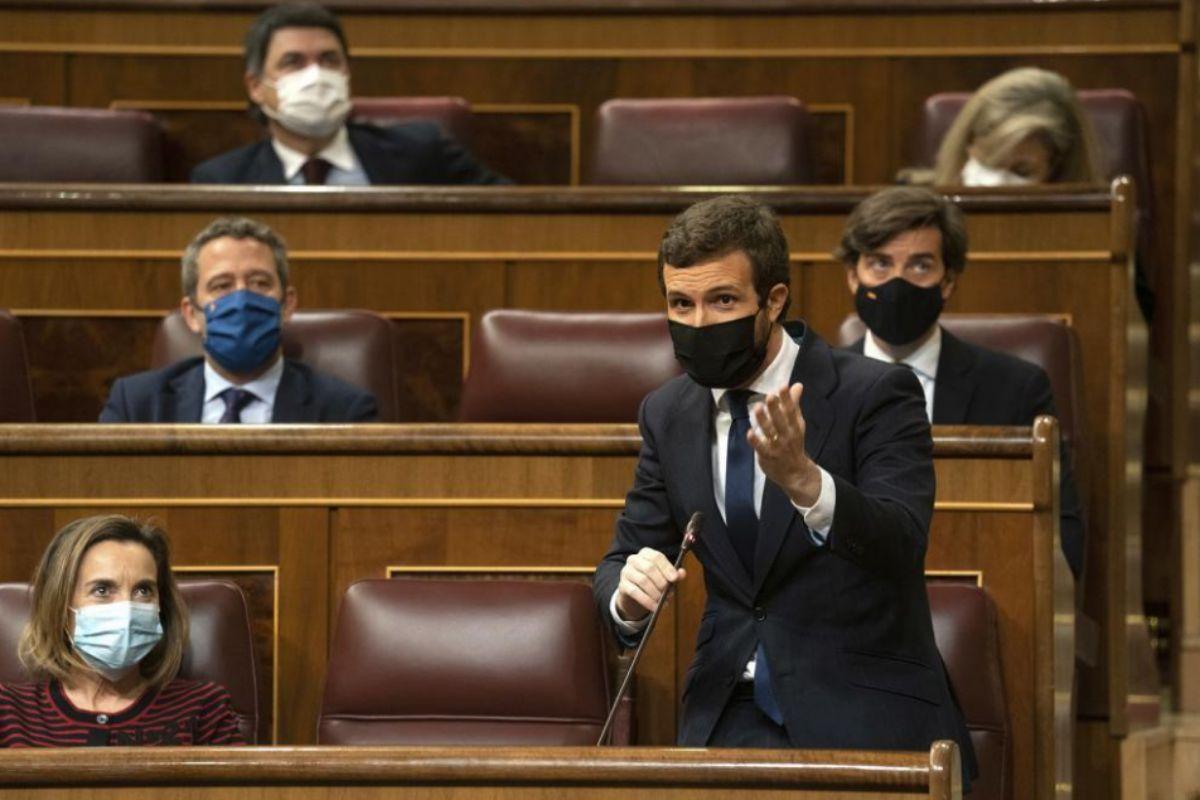 Pablo Casado, durante su pregunta a Pedro Sánchez en la sesión de control.