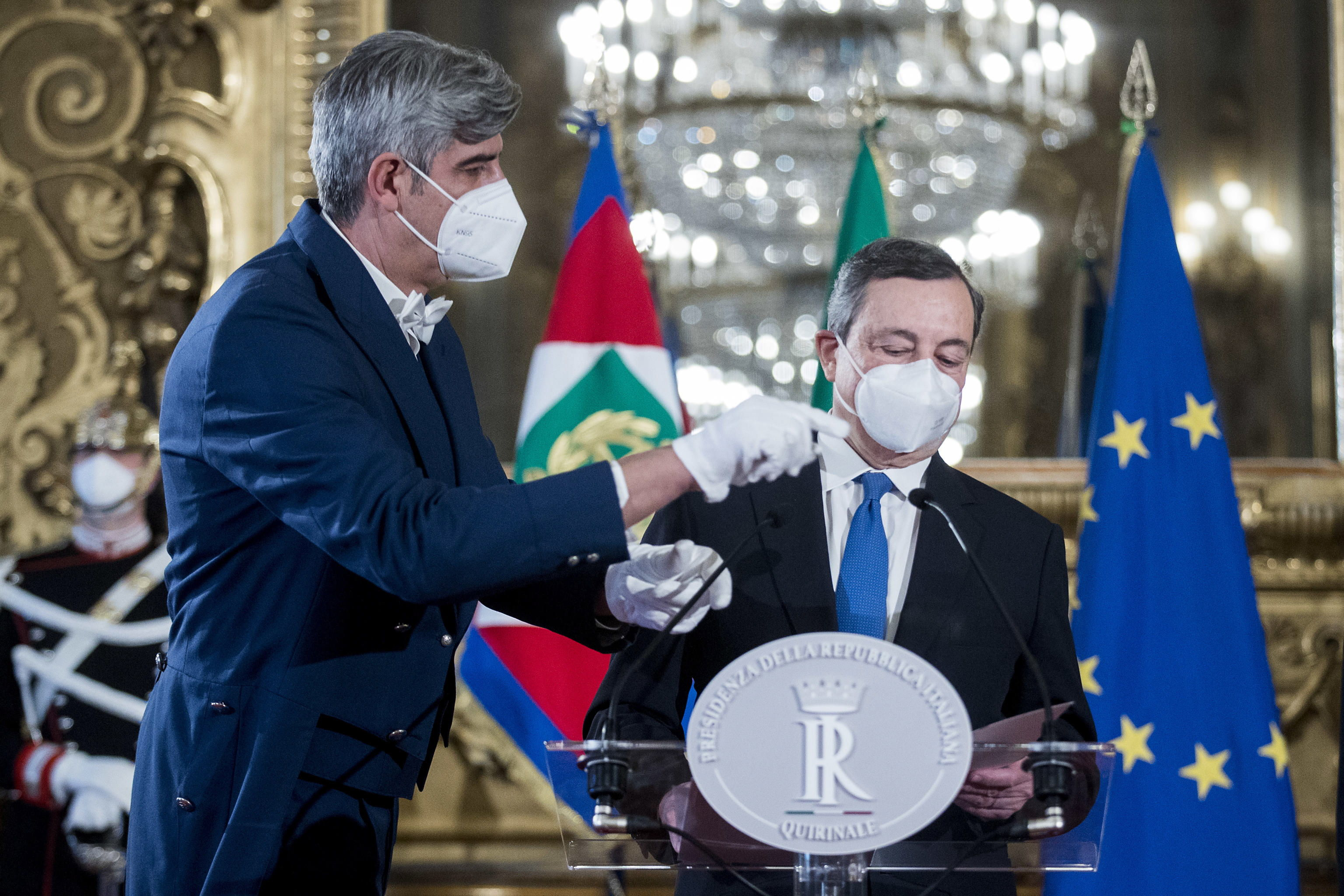 ماریو دراگی ، پس از موافقت با تشکیل دولت.
