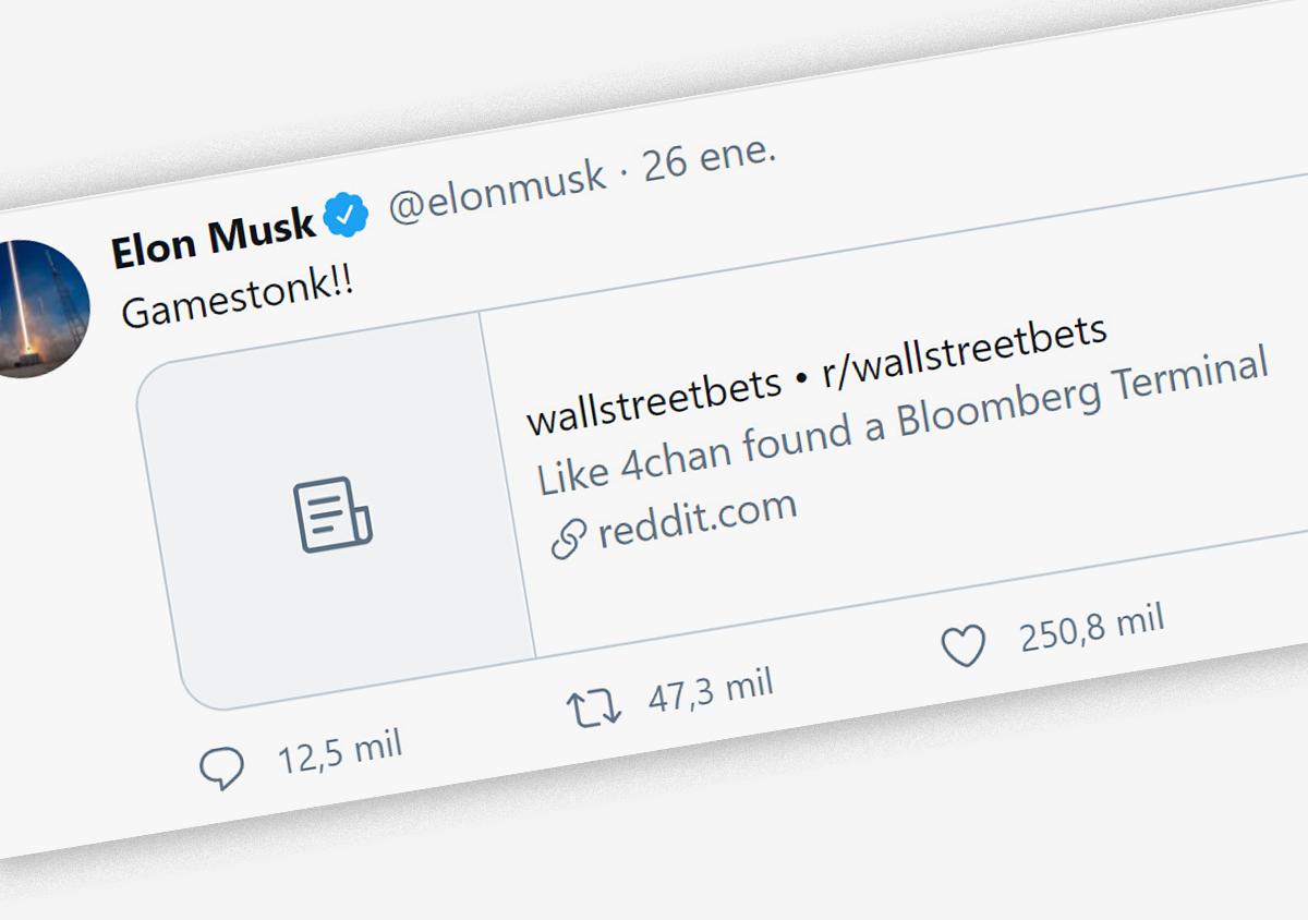¡Cómo no! Elon Musk, claro ejemplo de la cultura Silicon Valley, se sumó al entusiasmo por la gesta de Reddit.
