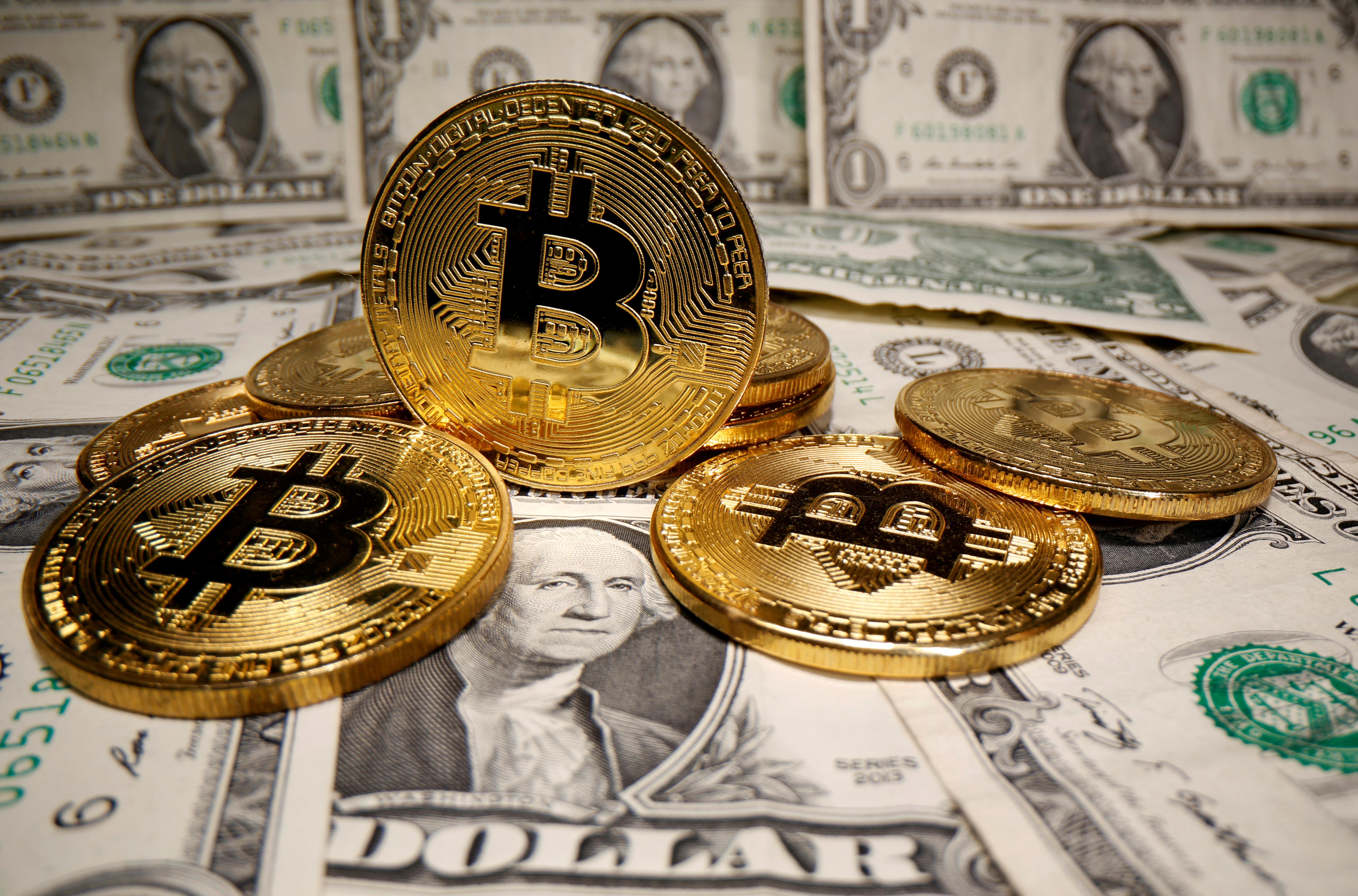 Representación virtual de la criptomoneda bitcoin.