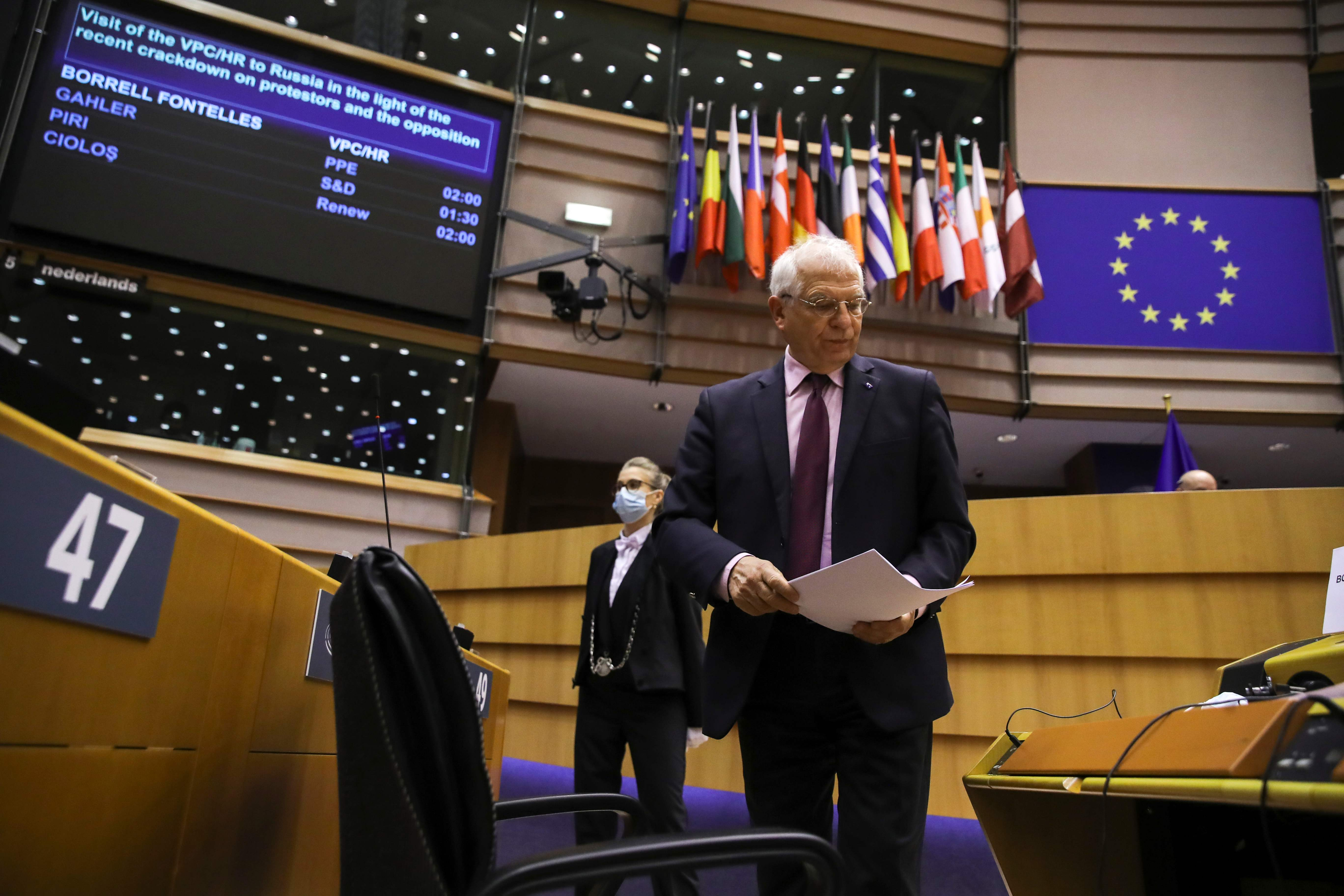 Josep Borrell, en la Eurocámara.