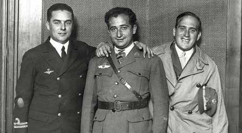 De izq. a dcha., Juan Manuel Durán, Ramón Franco y Julio Ruiz de Alda.