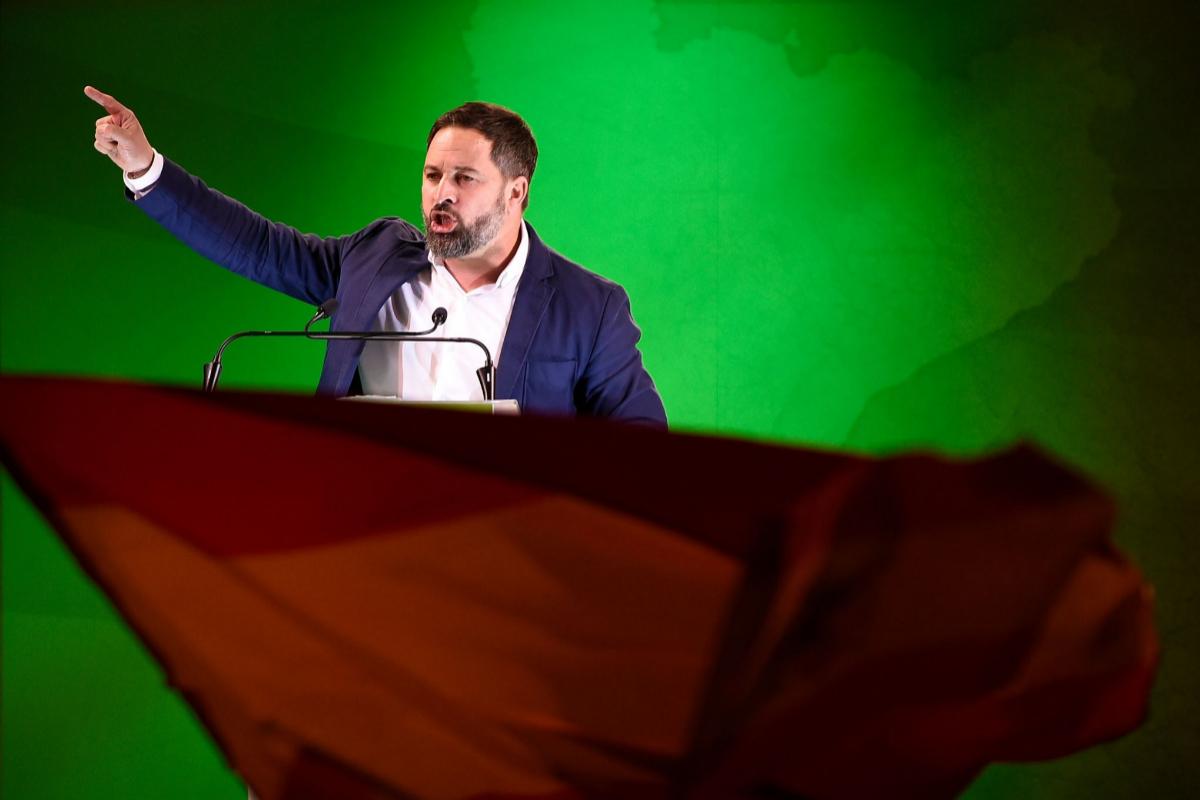 Santiago Abascal en el acto de cierre de campaña de Vox en Cataluña. | AFP
