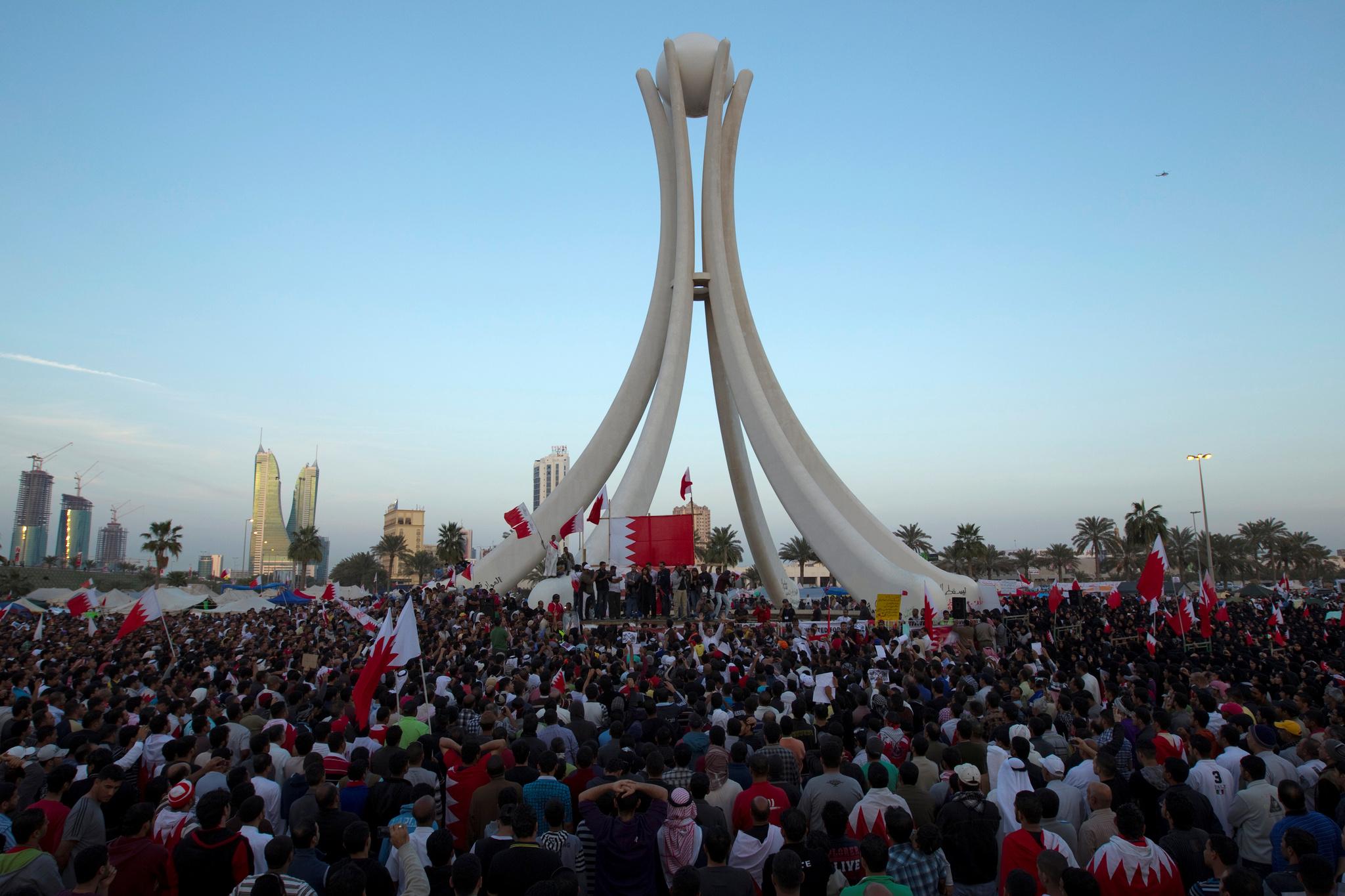 Protesta en la plaza dela Perla de Bahrein, en 2011.