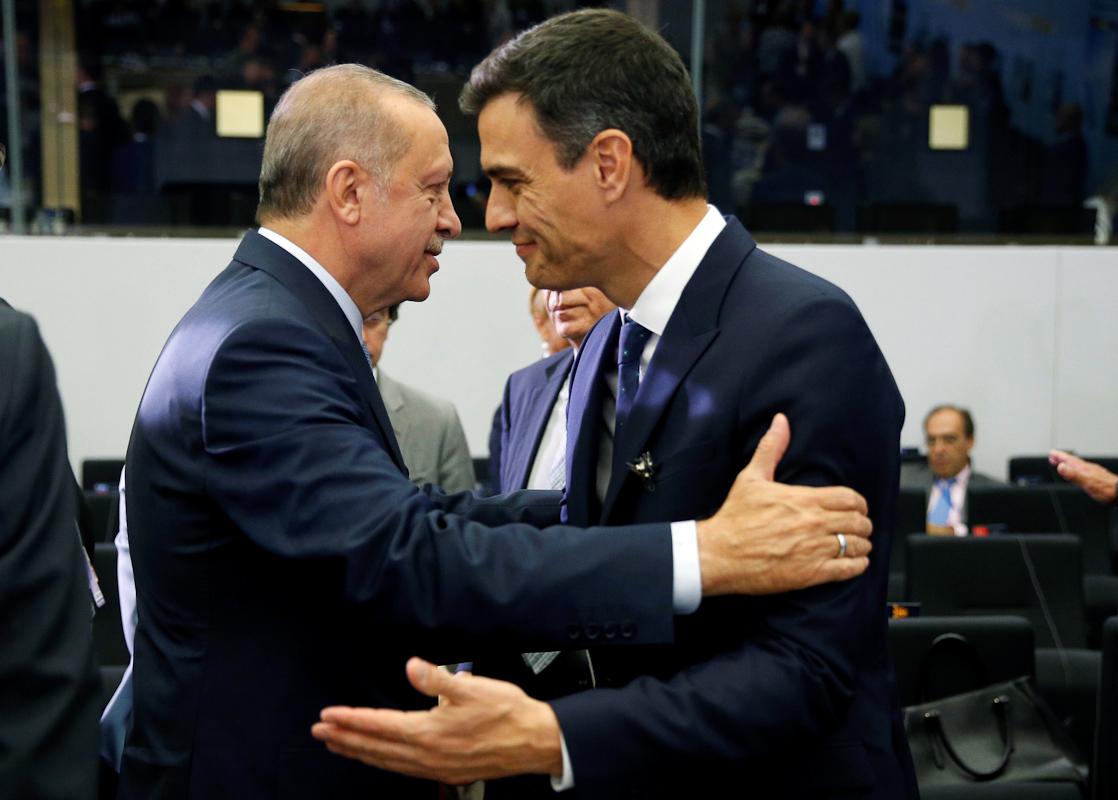 Erdogan y Pedro Sánchez en una cumbre en Bruselas en 2018.