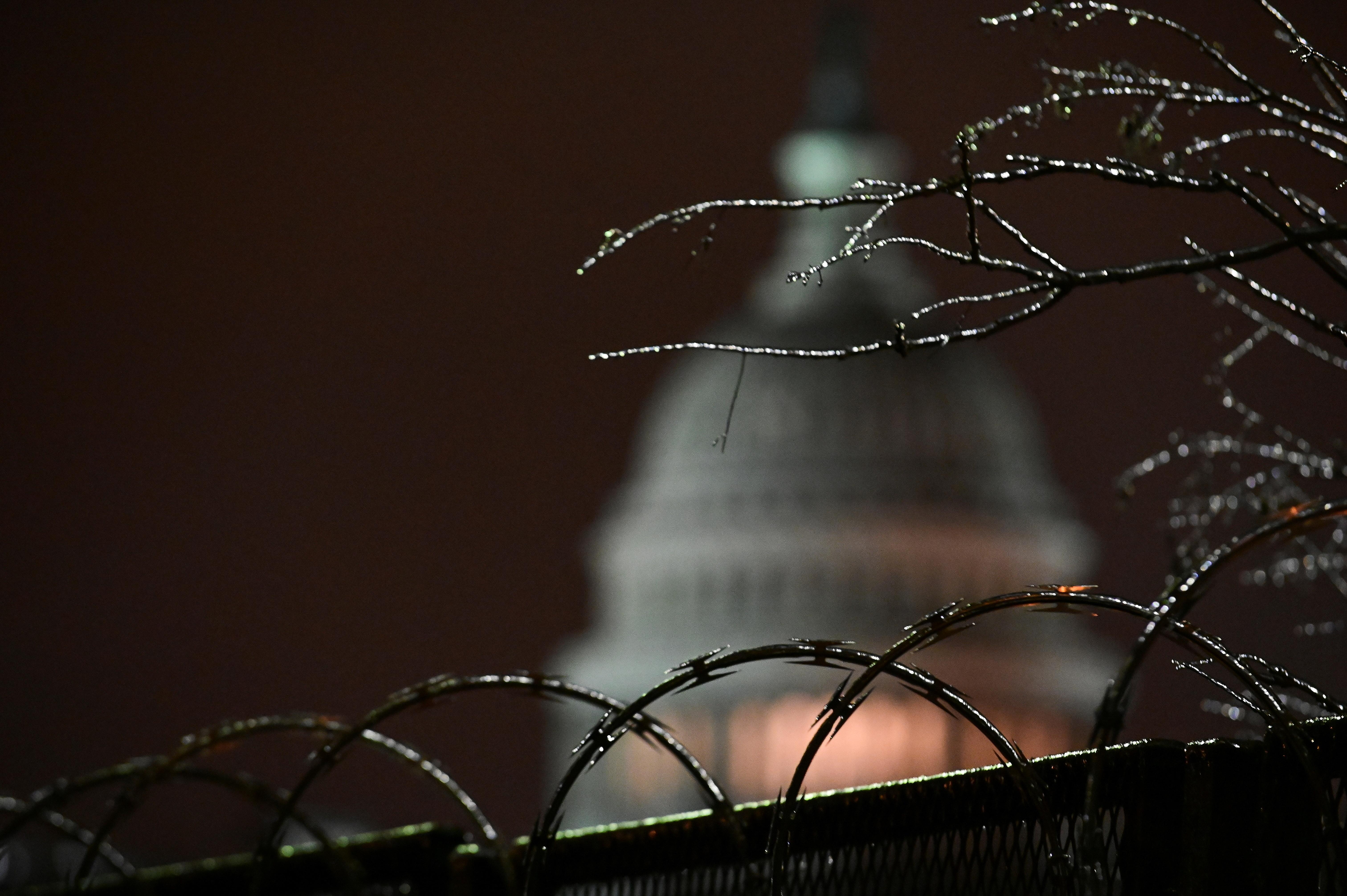 Vista del Capitolio a través de las vallas de seguridad.