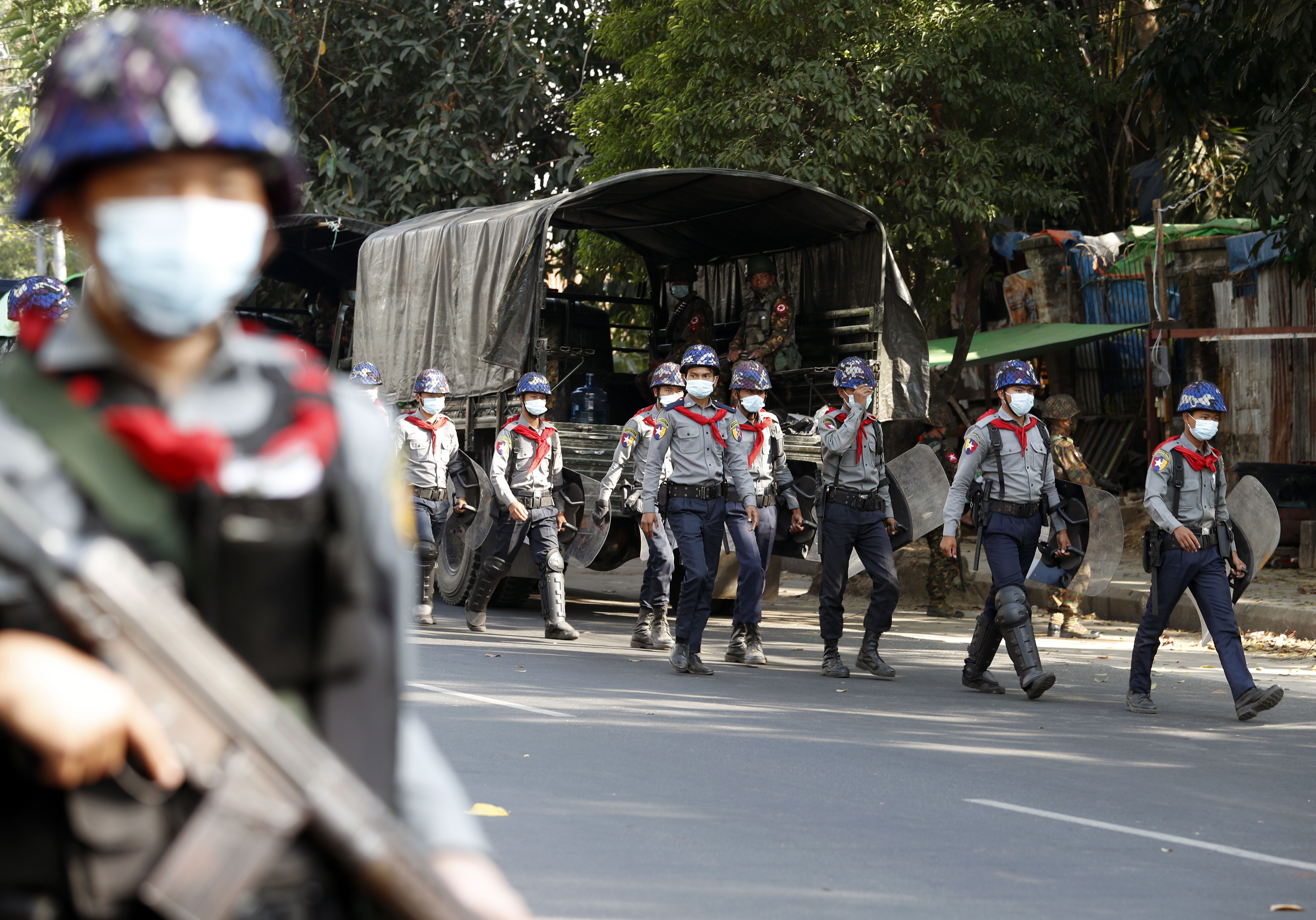Soldiers deployed in the streets of Rang