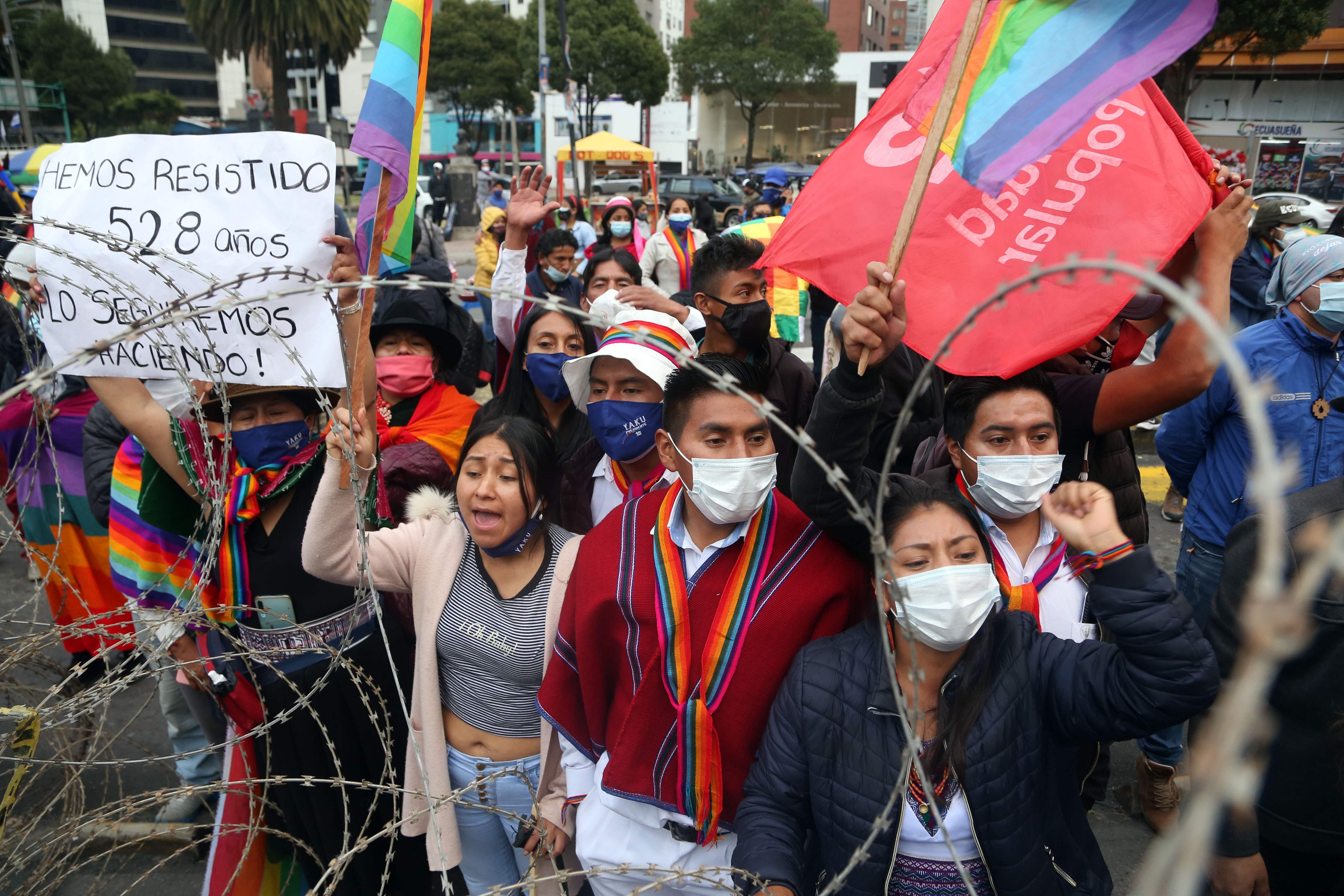 Manifestación de los seguidores de Yaku Perez.