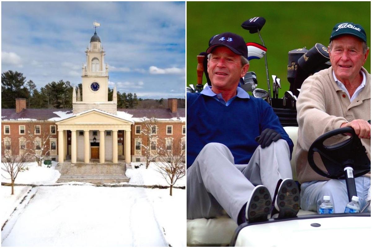 Tanto George H. Bush (d) como su hijo, George W. Bush estudiaron en la Phillips Academy Andover en Massachusetts.