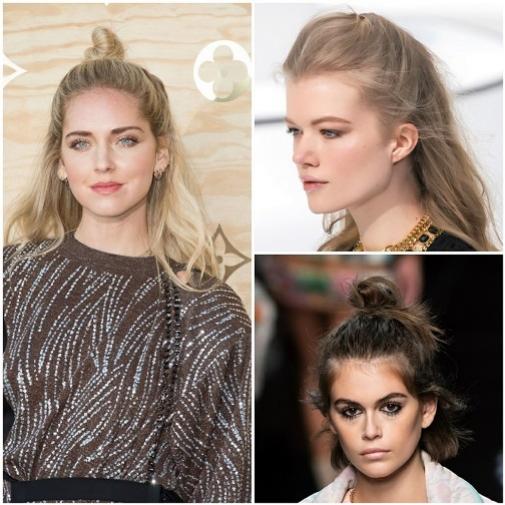 Chiara Ferragni, Kaia Gerber  y una modelo del desfile de Chanel de invierno 2020, con semirrecogidos ideales para darle vidilla a los pelos finos.