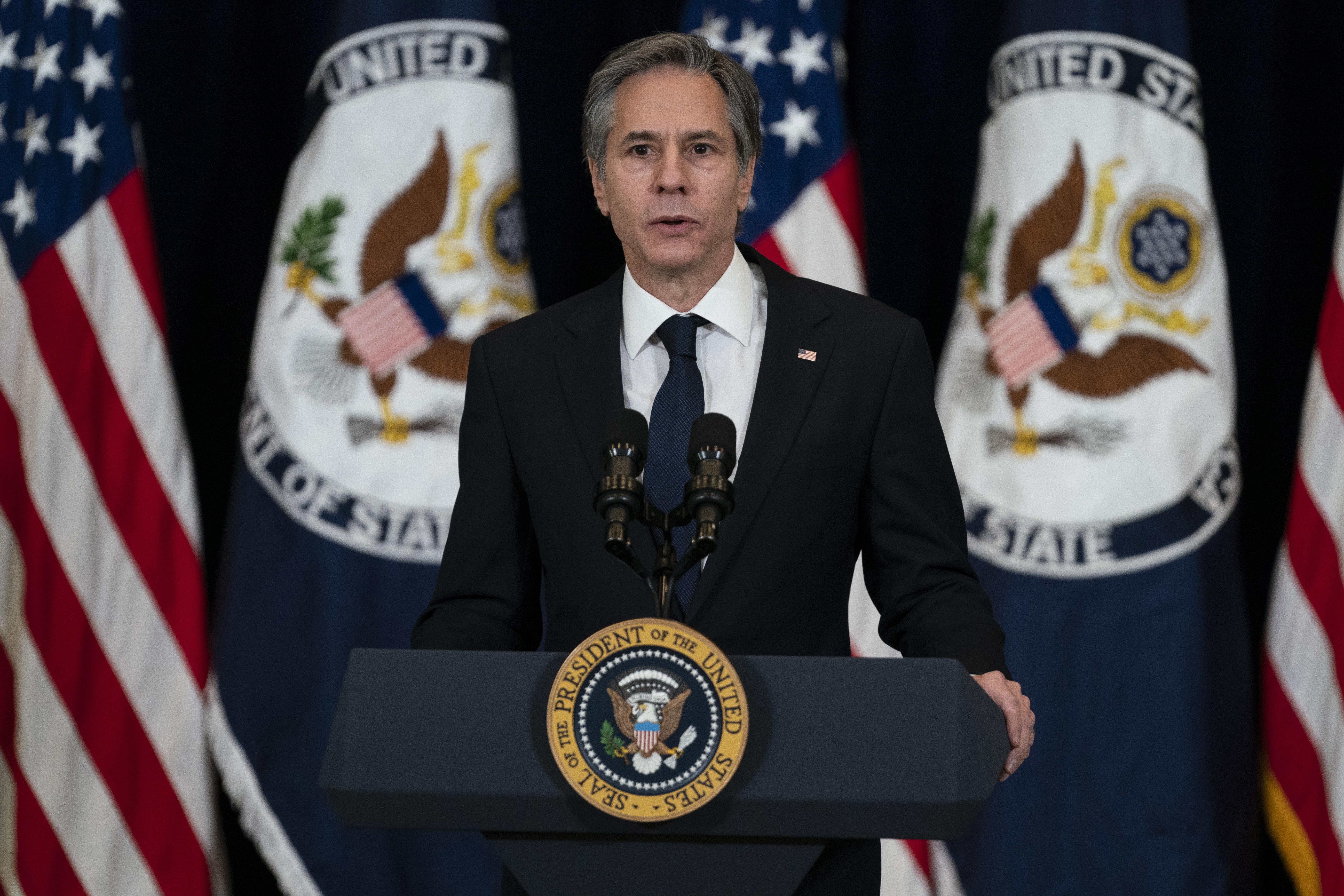 Antony Blinken, secretario de Estado de EEUU, en una rueda de prensa a principios de mes.