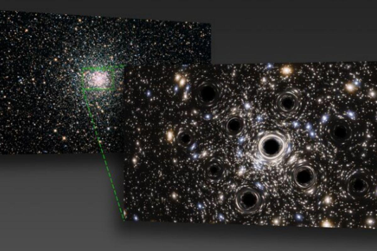 Recreación del enjambre de agujeros negros NGC6397