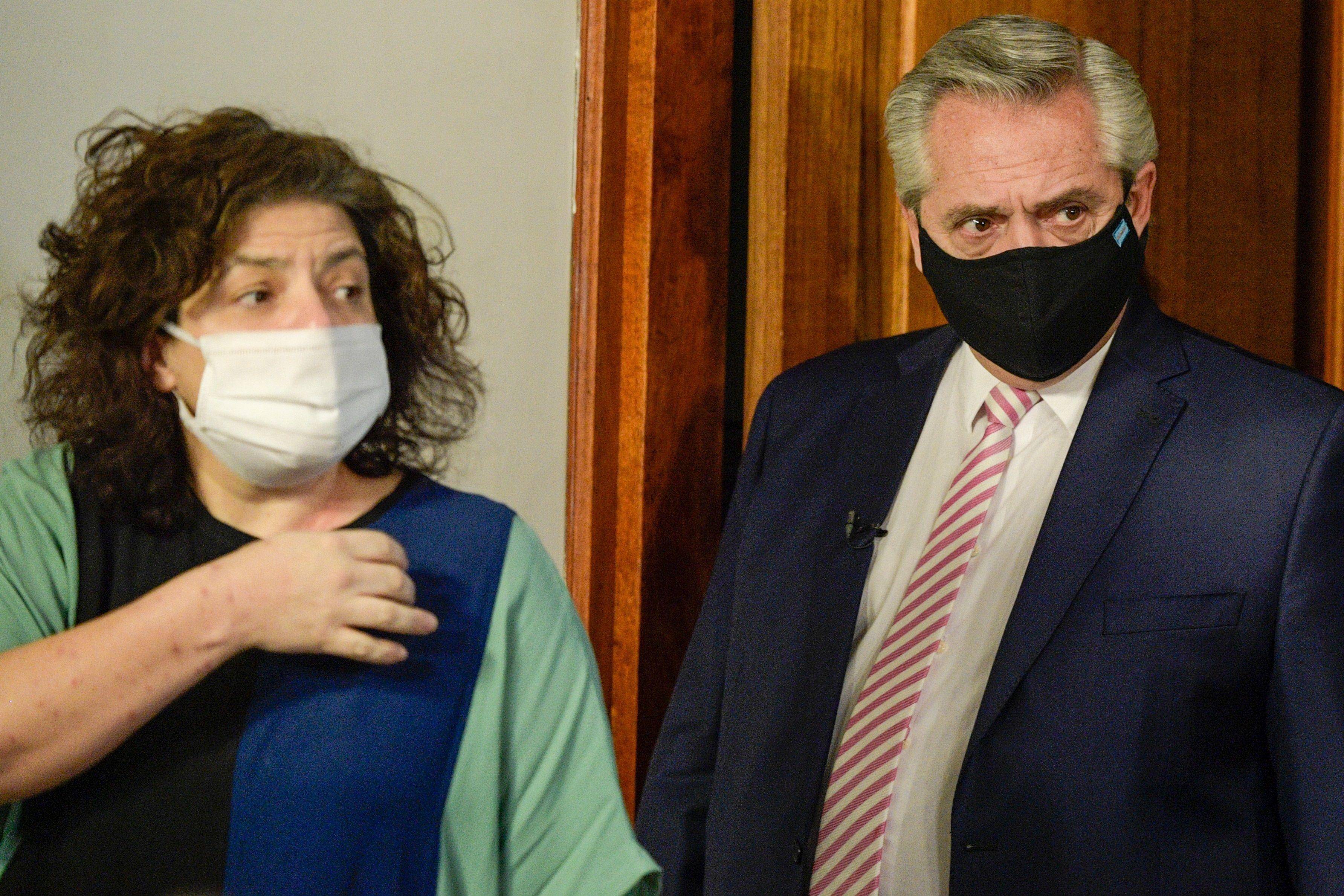 Carla Bizzotti, nueva ministra de Salud, y Alberto Fernández.
