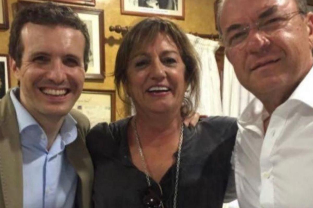 Pablo Casado, Consuelo Rodríguez Piriz y José Antonio Monago, en una imagen publicada por el PP.