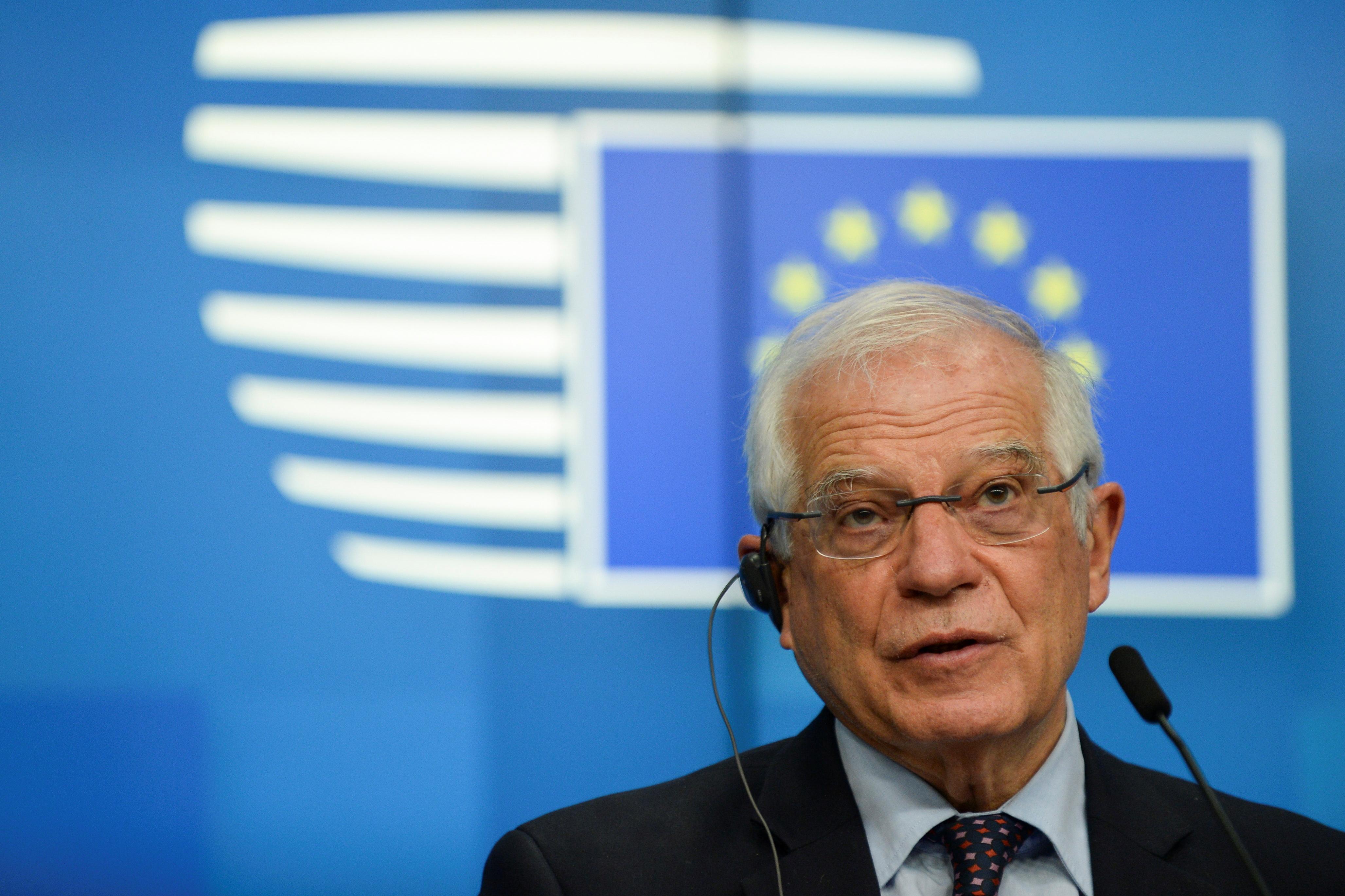 Josep Borrell, en una rueda de prensa este lunes.