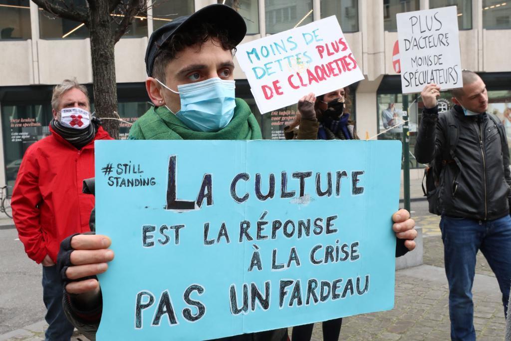 Protesta en Bruselas en favor de la cultura.