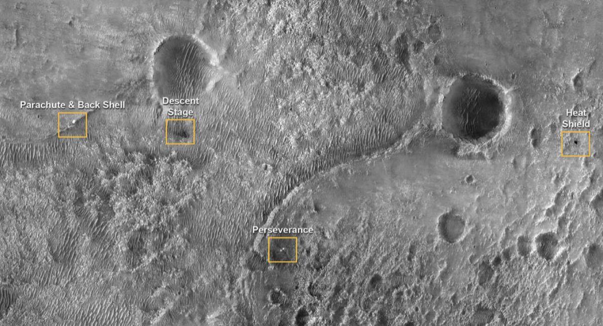 Localización del lugar donde han caído los distintos componentes de Mars2020-Perseverance