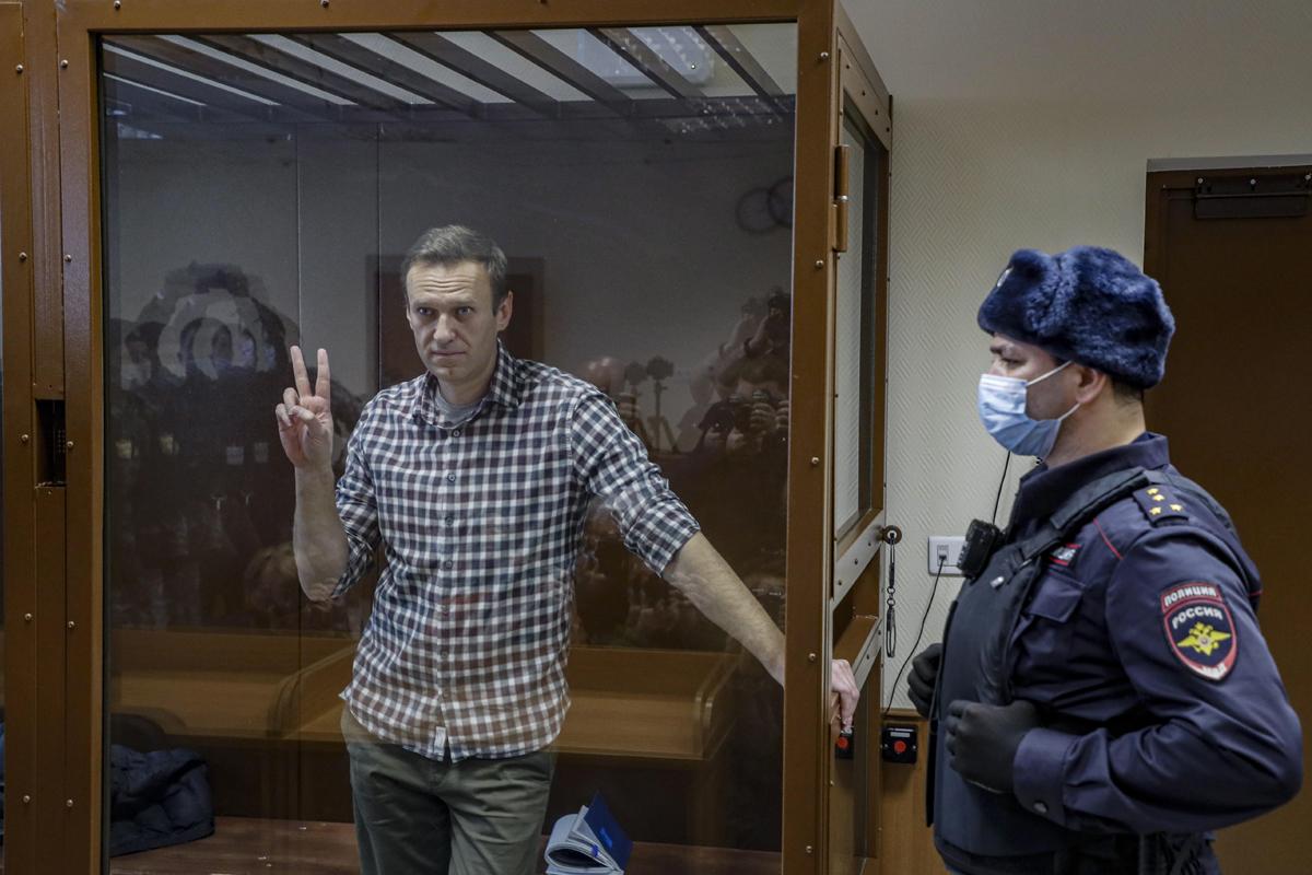 Navalny, en el proceso contra él en Moscú.