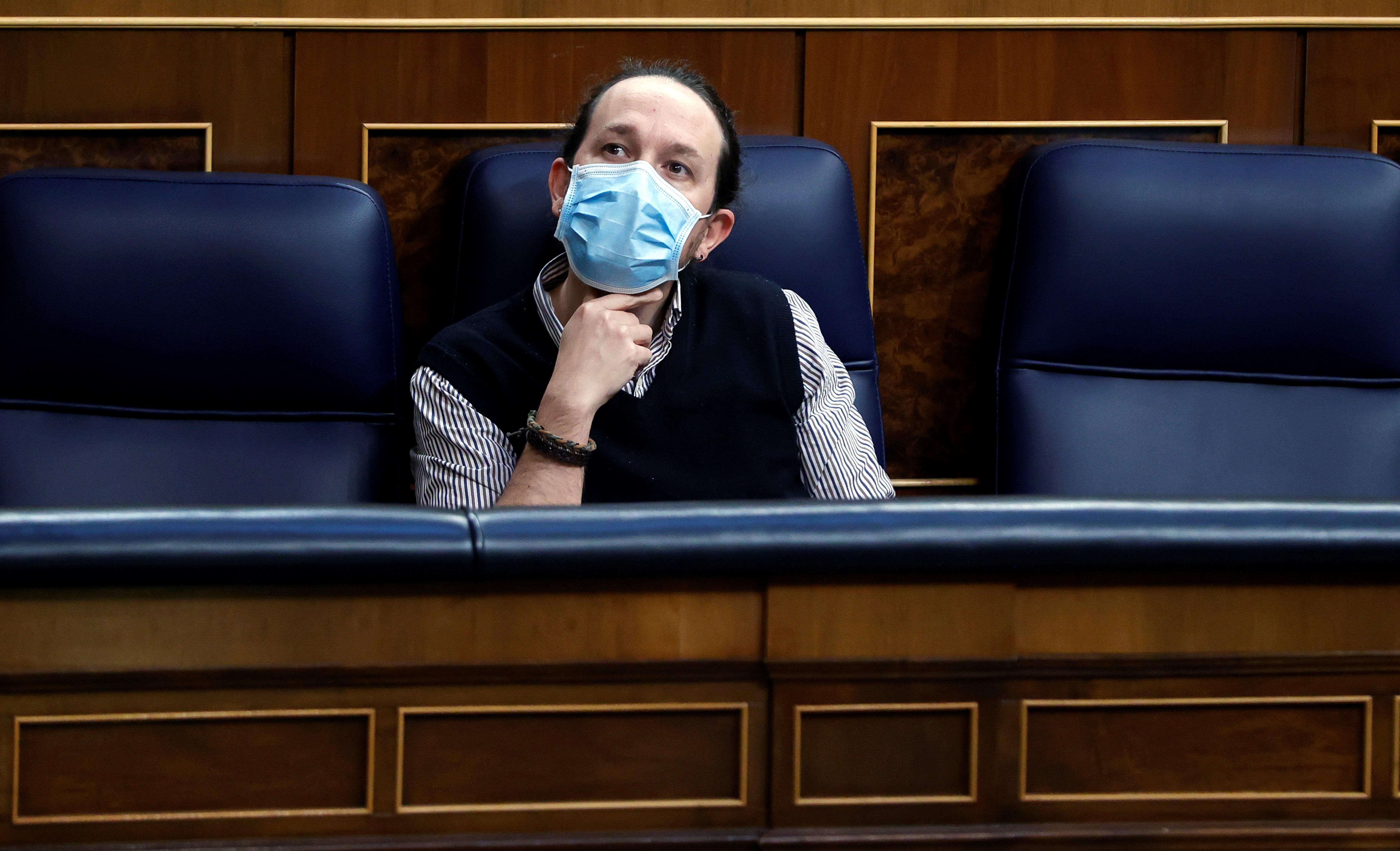 El vicepresidente, Pablo Iglesias, en el Cogreso de los Diputados.