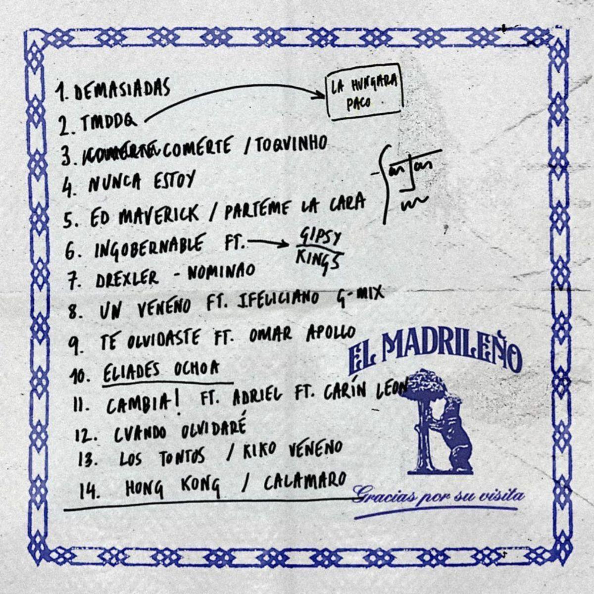 Lista de canciones de 'El Madrileño'.