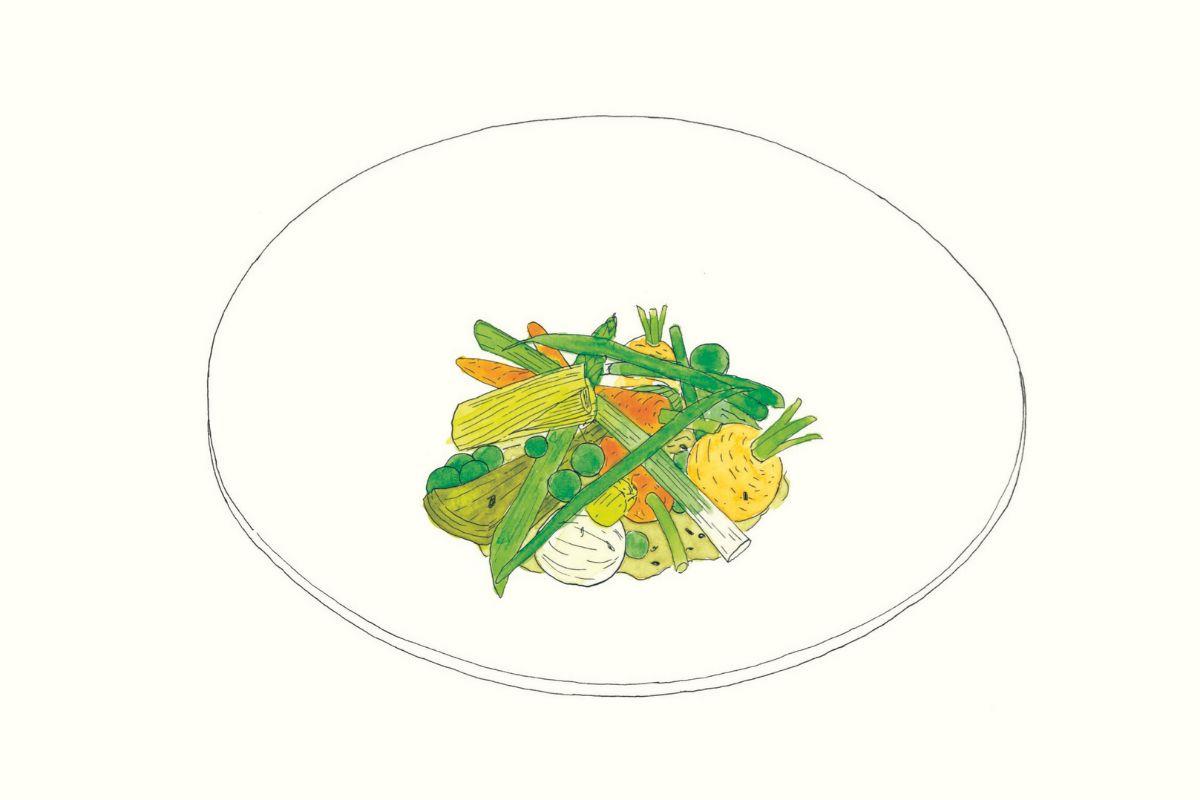 Plato de verduras de Provenza con trufa negra, de Alain Ducasse.