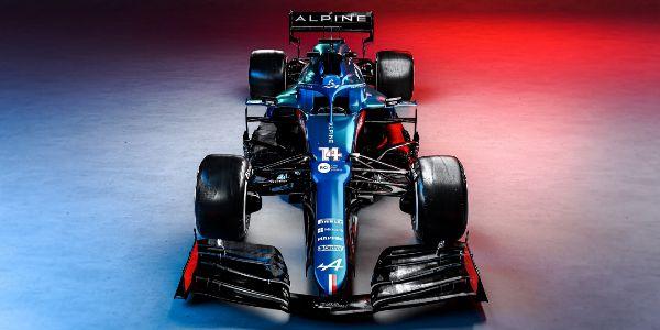 Vista frontal del nuevo monoplaza de Alonso y Ocon.