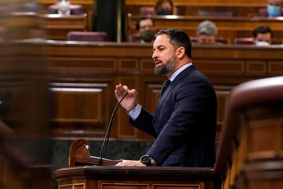 El presidente de Vox, Santiago Abascal, durante una sesión en el Congreso.