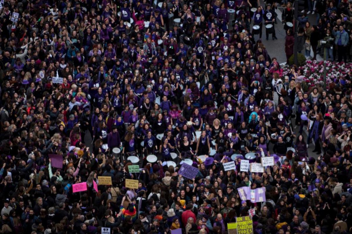 La manifestación con motivo del 8M del año pasado, a su paso por Cibeles.