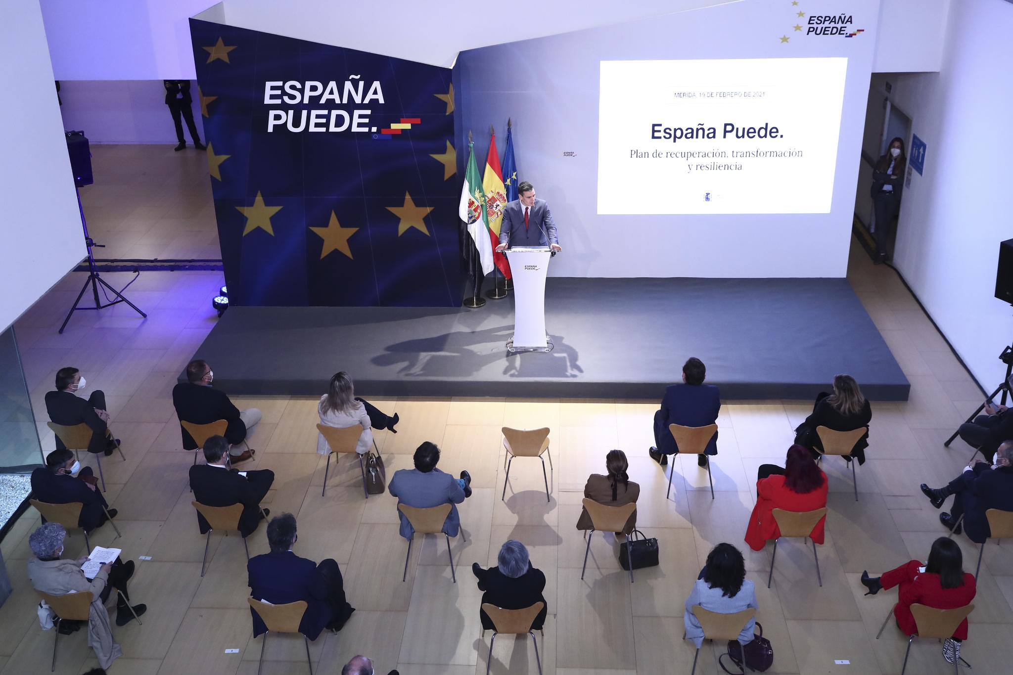 El presidente Pedro Sánchez presenta el Plan de Recuperación en Extremadura.