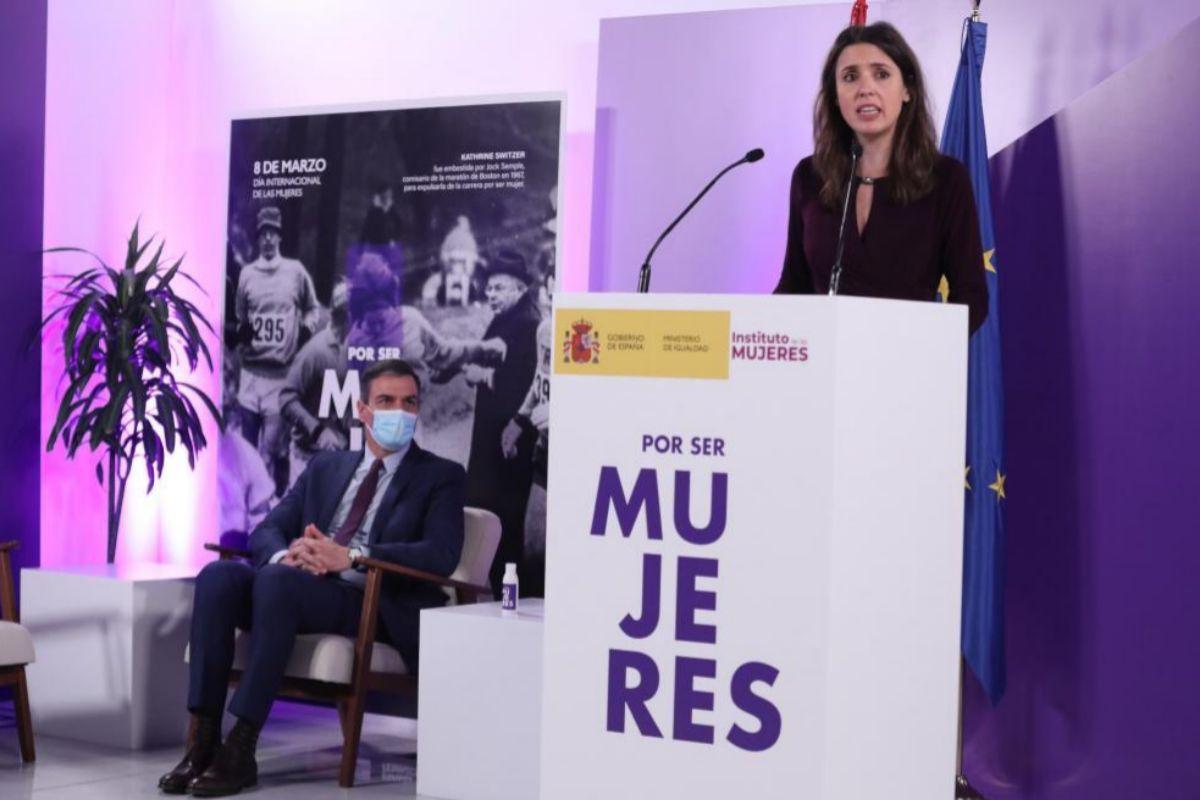 Irene Montero, durante su intervención en el Ministerio de Igualdad.