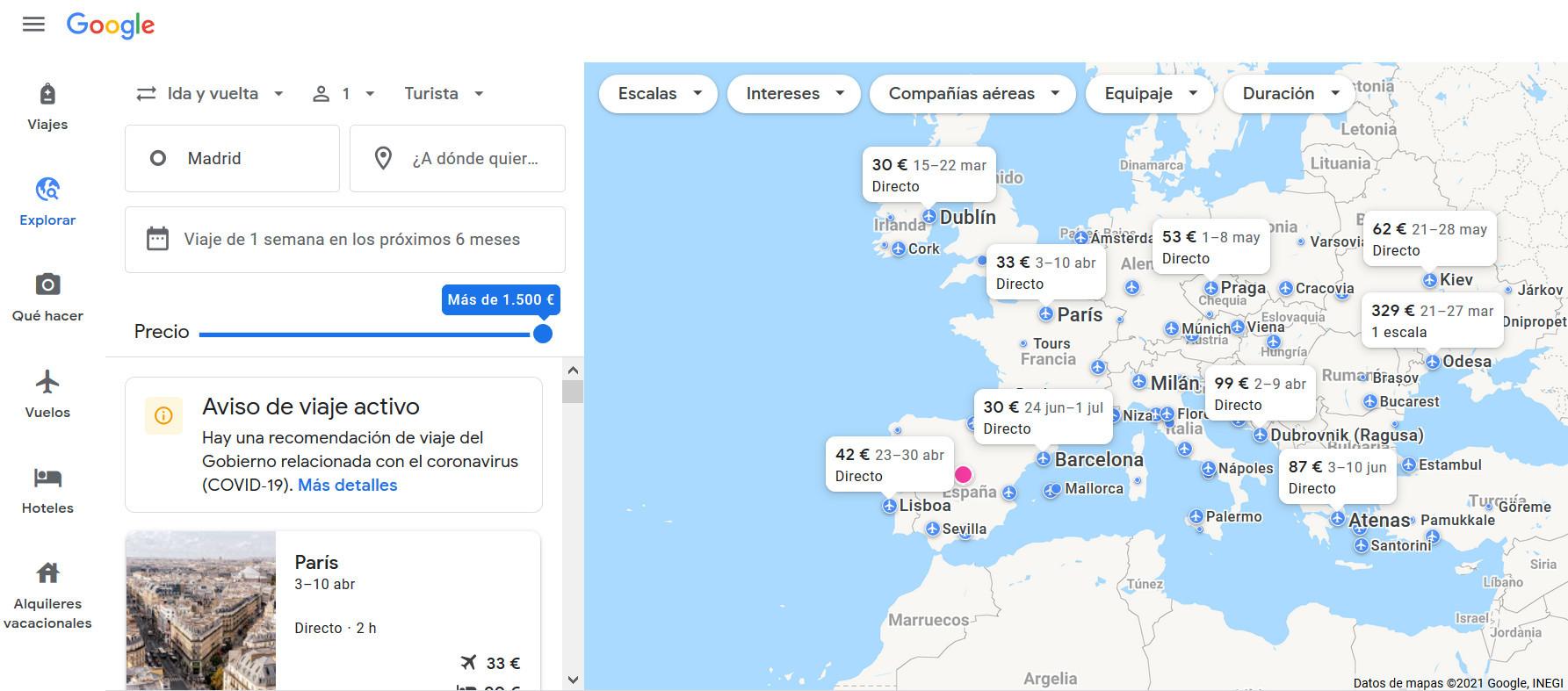 Mapa interactivo con vuelos disponibles en Google Travel.