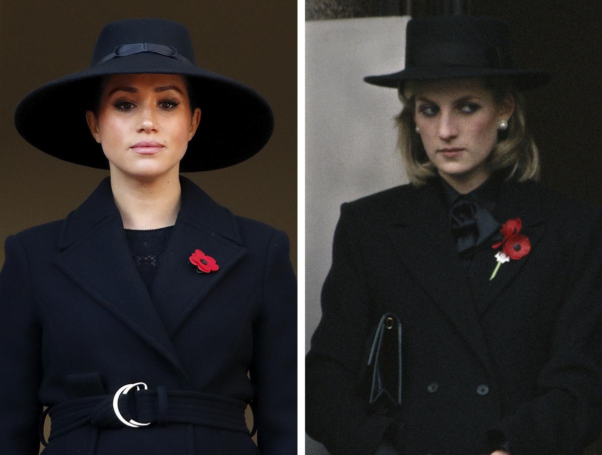 Foto comparativa de Meghan Markle y Diana de Gales.