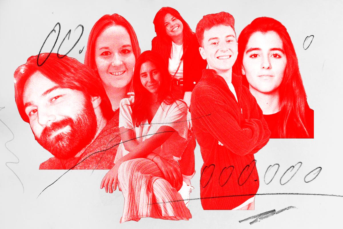 De izquierda a derecha, Miguel Gallardo, Olivia Delgado, Marina Siles, Alba Gil, Antonio Rodríguez y Marta Ramos