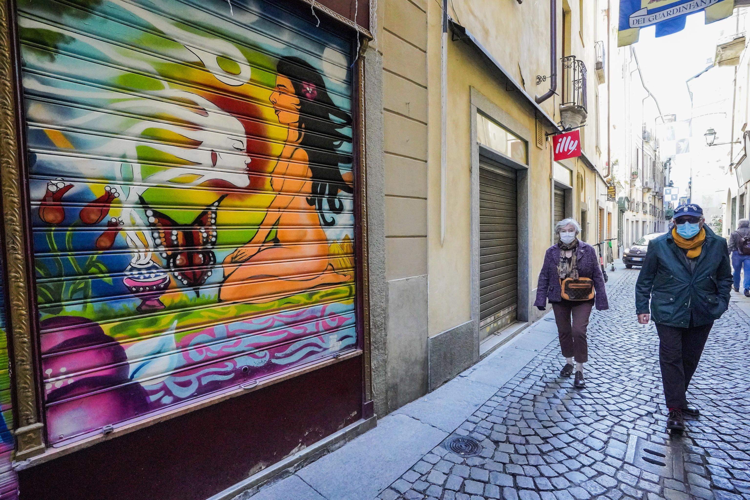 Calle de Turín, Italia, este lunes.