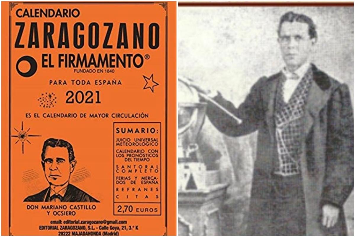 A la izquierda, un ejemplar del Calendario Zaragozano para este año. A la derecha, Mariano Castillo y Ocsiero, su creador.
