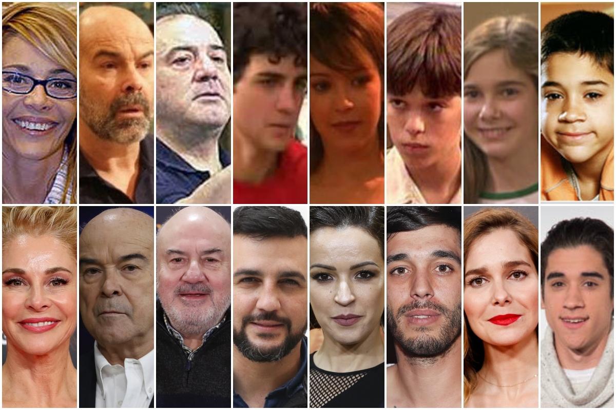 De izquierda a derecha, el antes y el ahora de: Belén Rueda, Antonio Resines, Jesús Bonilla, Fran Perea, Verónica Sánchez, Víctor Elías, Natalia Sánchez y Jorge Jurado.