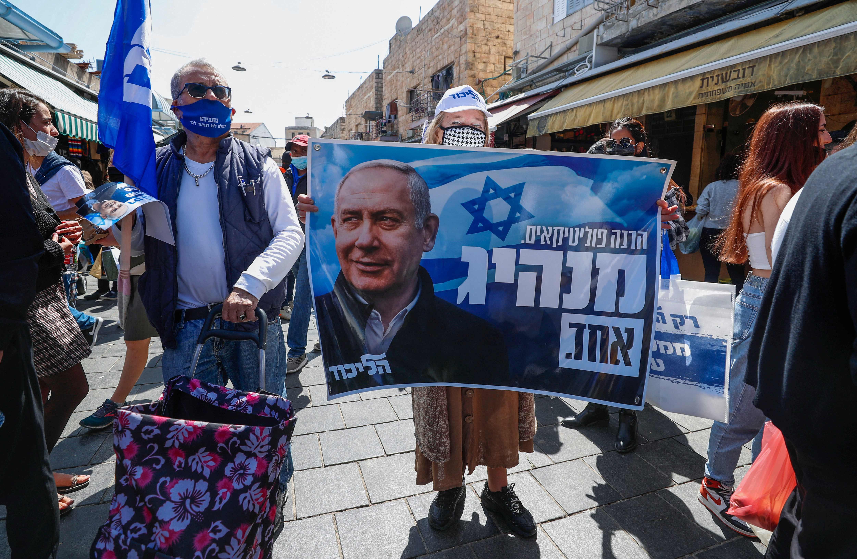 Seguidores del partido Likud de Benjamin Netanyahu, en las calles de Jerusalén.