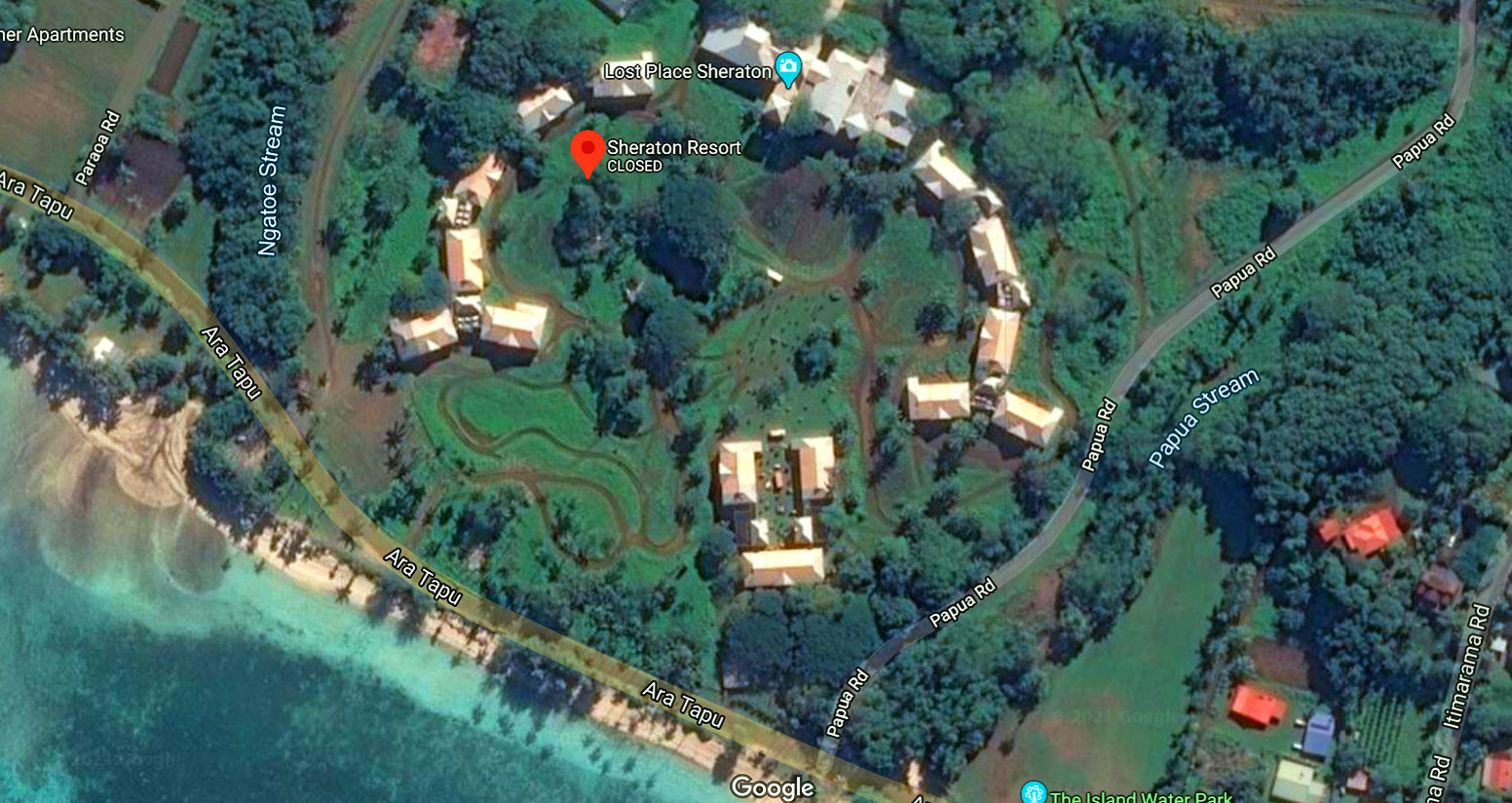Imagen de satélite del hotel Sheraton, al sur de la isla de Rarotonga.