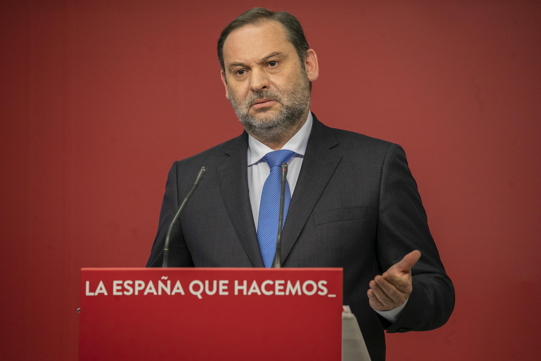 El ministro José Luis Ábalos, en la rueda de prensa de este lunes.