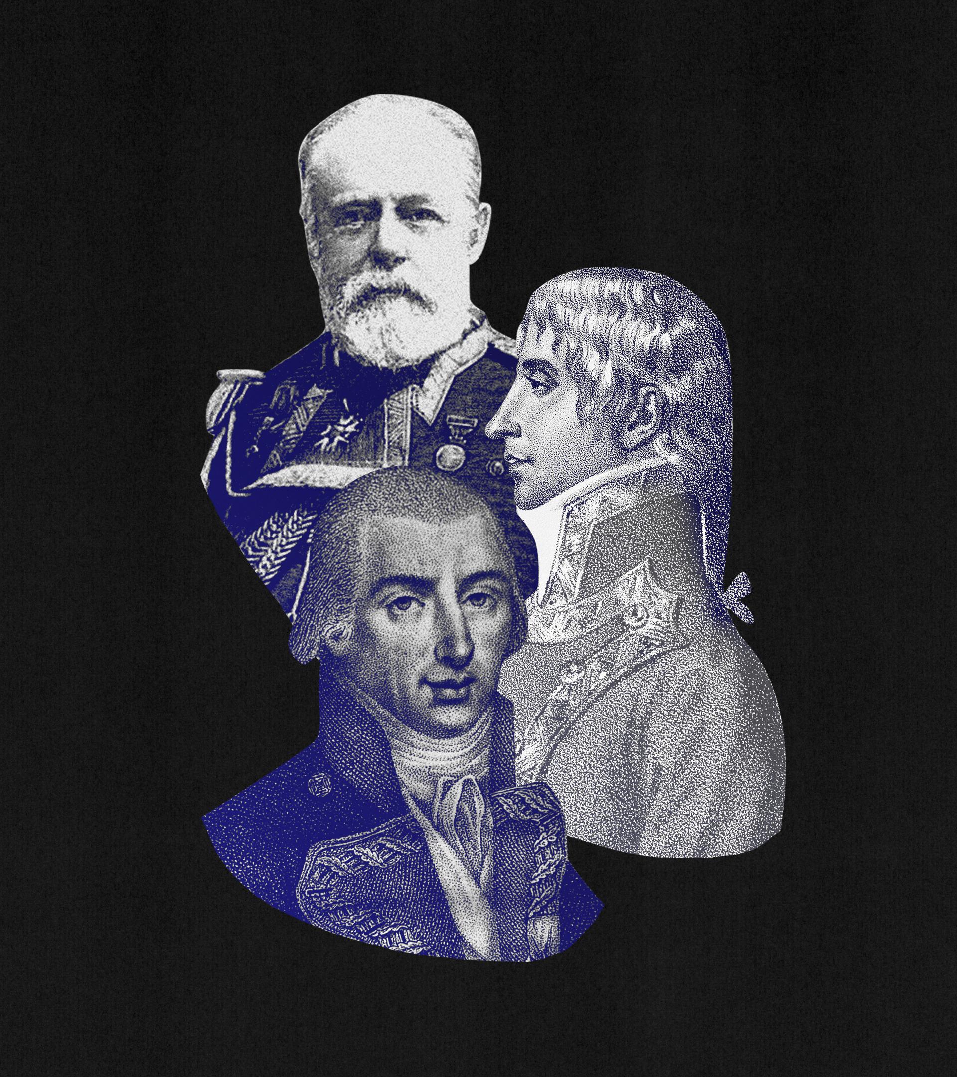 Imágenes de los almirantes Churruca, Gravina y Cervera.
