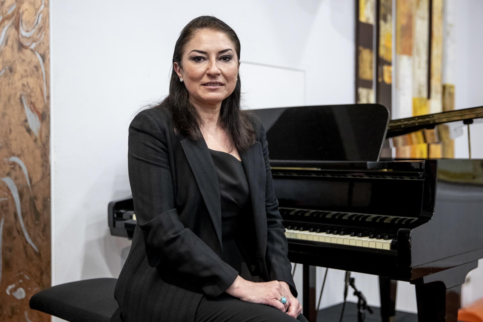 Monserrat Martí, este martes en la presentación del disco póstumo de su madre, Monserrat Caballé.