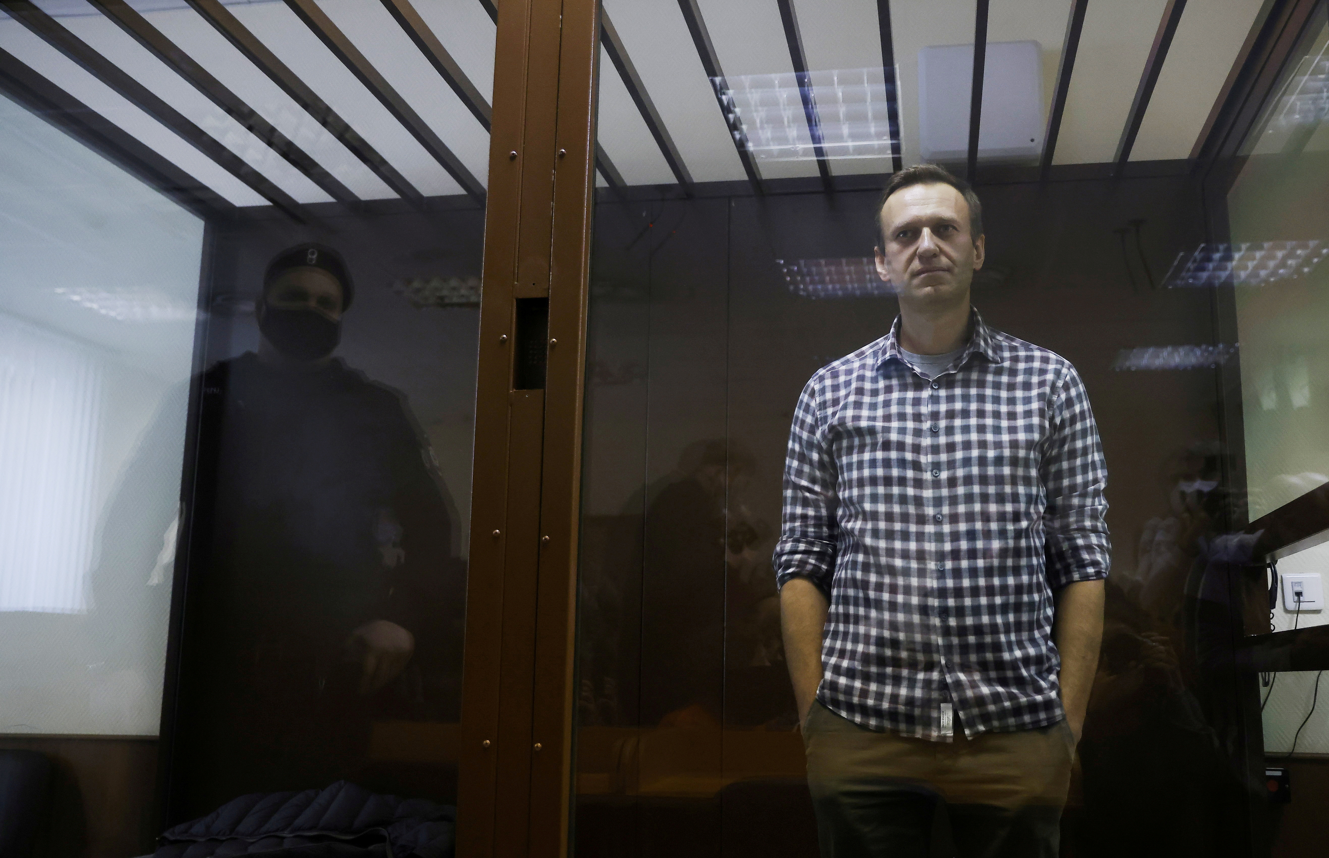 El líder opositor ruso, Alexei Navalny, durante su juicio.