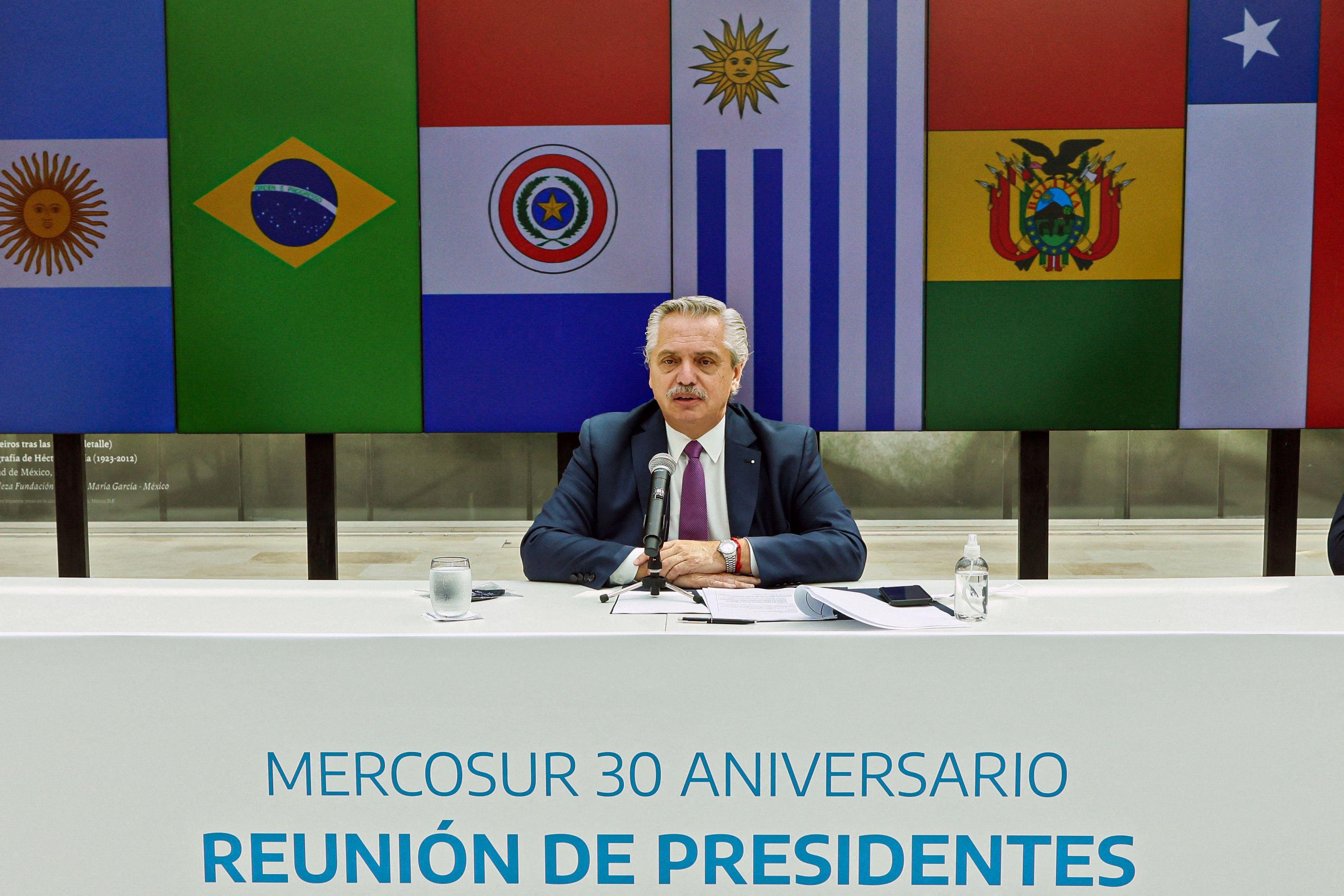 Alberto Fernández, durante la reunión.