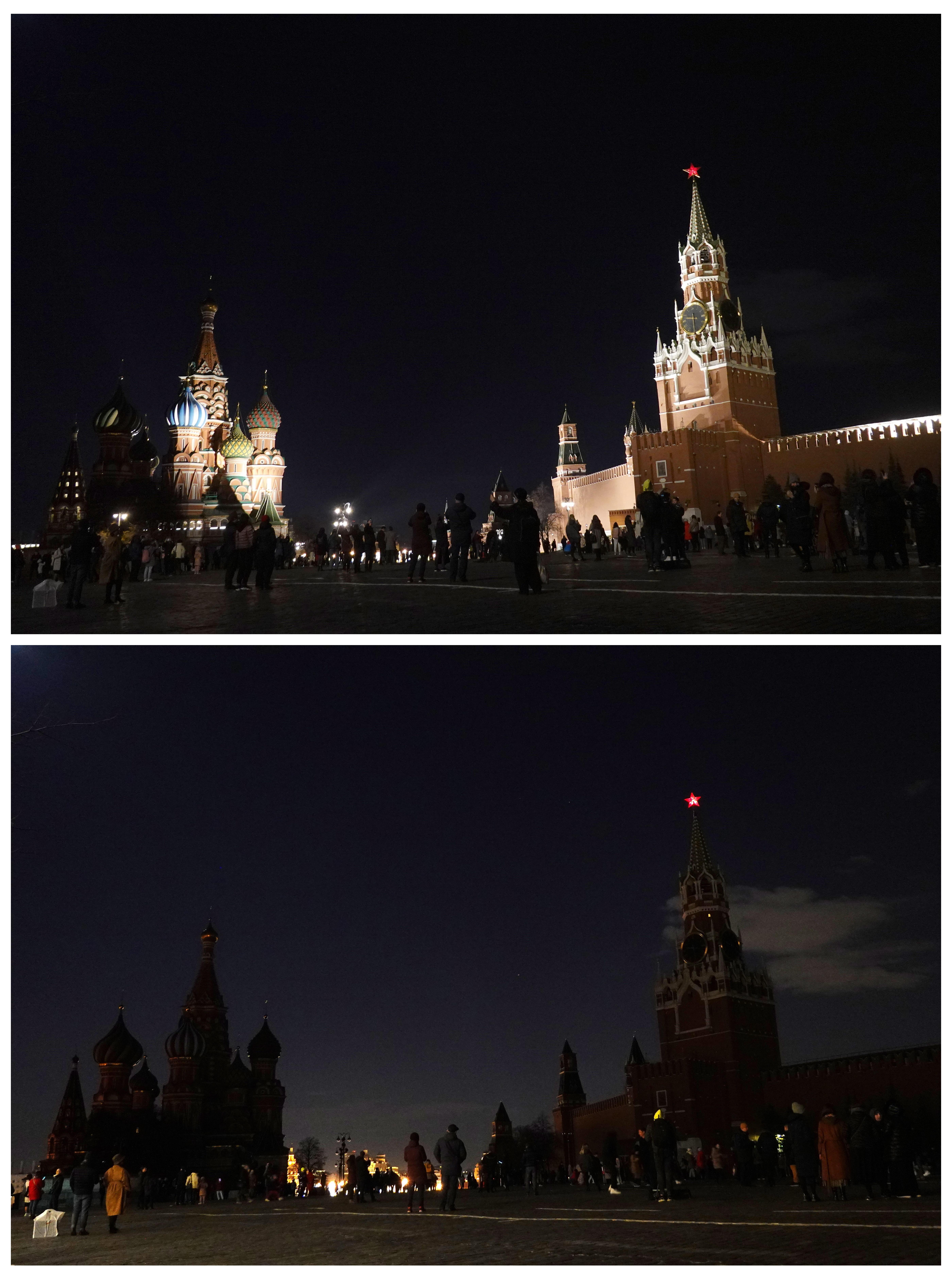 El Kremlin, en Moscú, antes y después de apagarse.