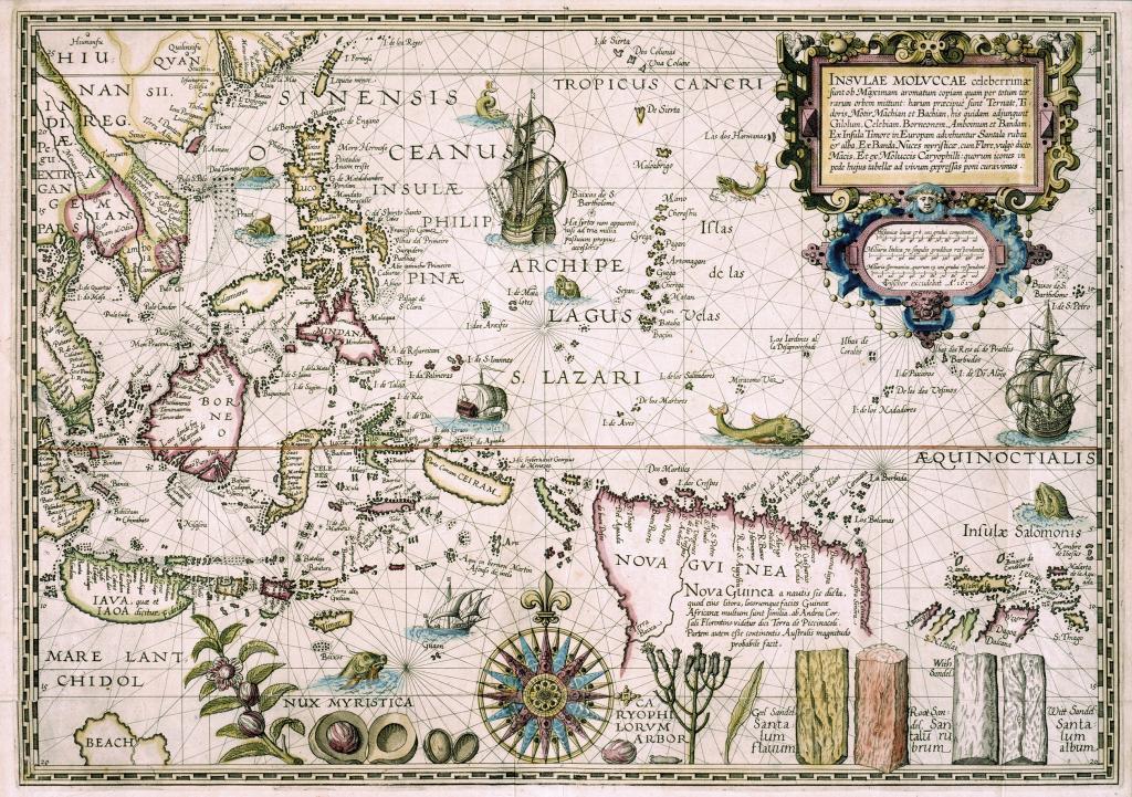 Un mapa español de las Islas Molucas en el siglo XVI.